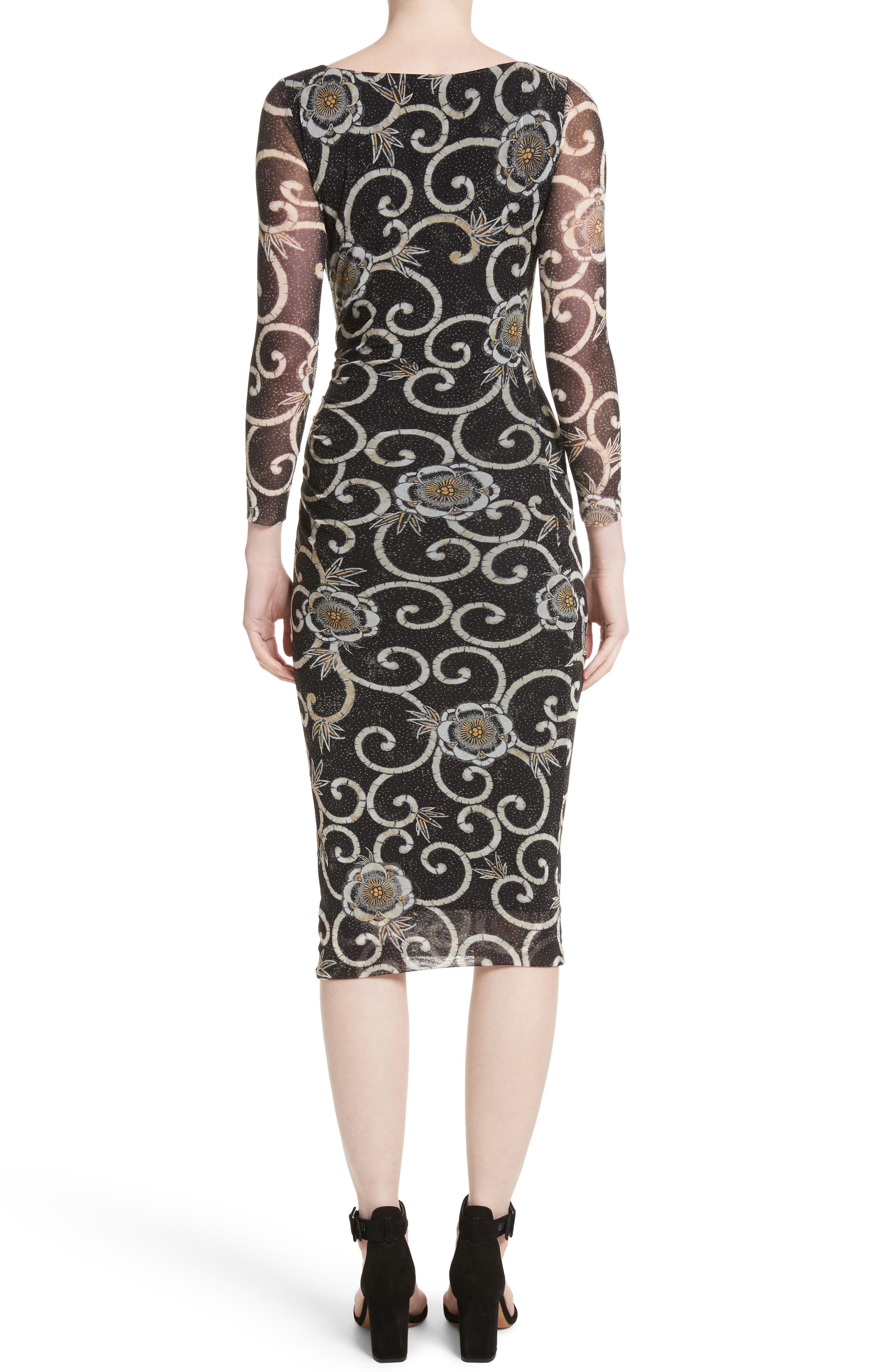Floral Print Ruched Tulle Dress,                             Alternate thumbnail 2, color,                             001