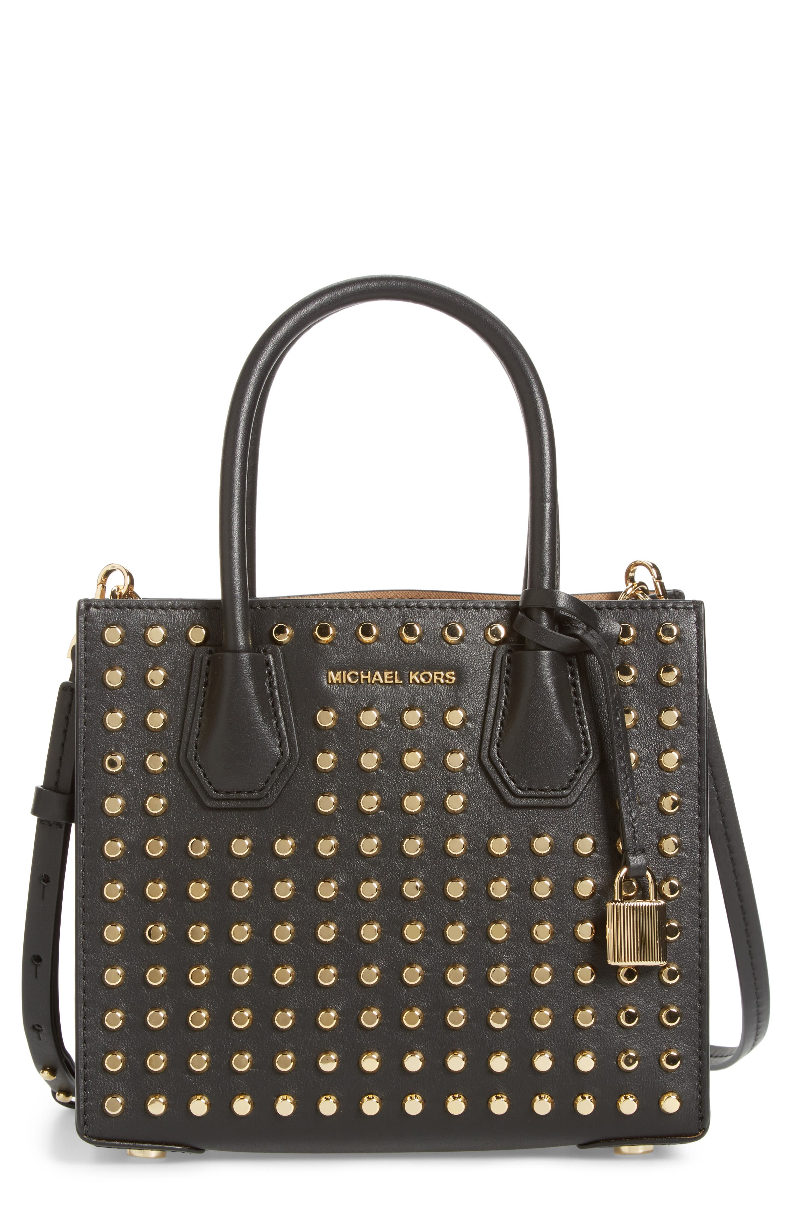 Medium Mercer Studded Leather Tote,                             Main thumbnail 1, color,                             001