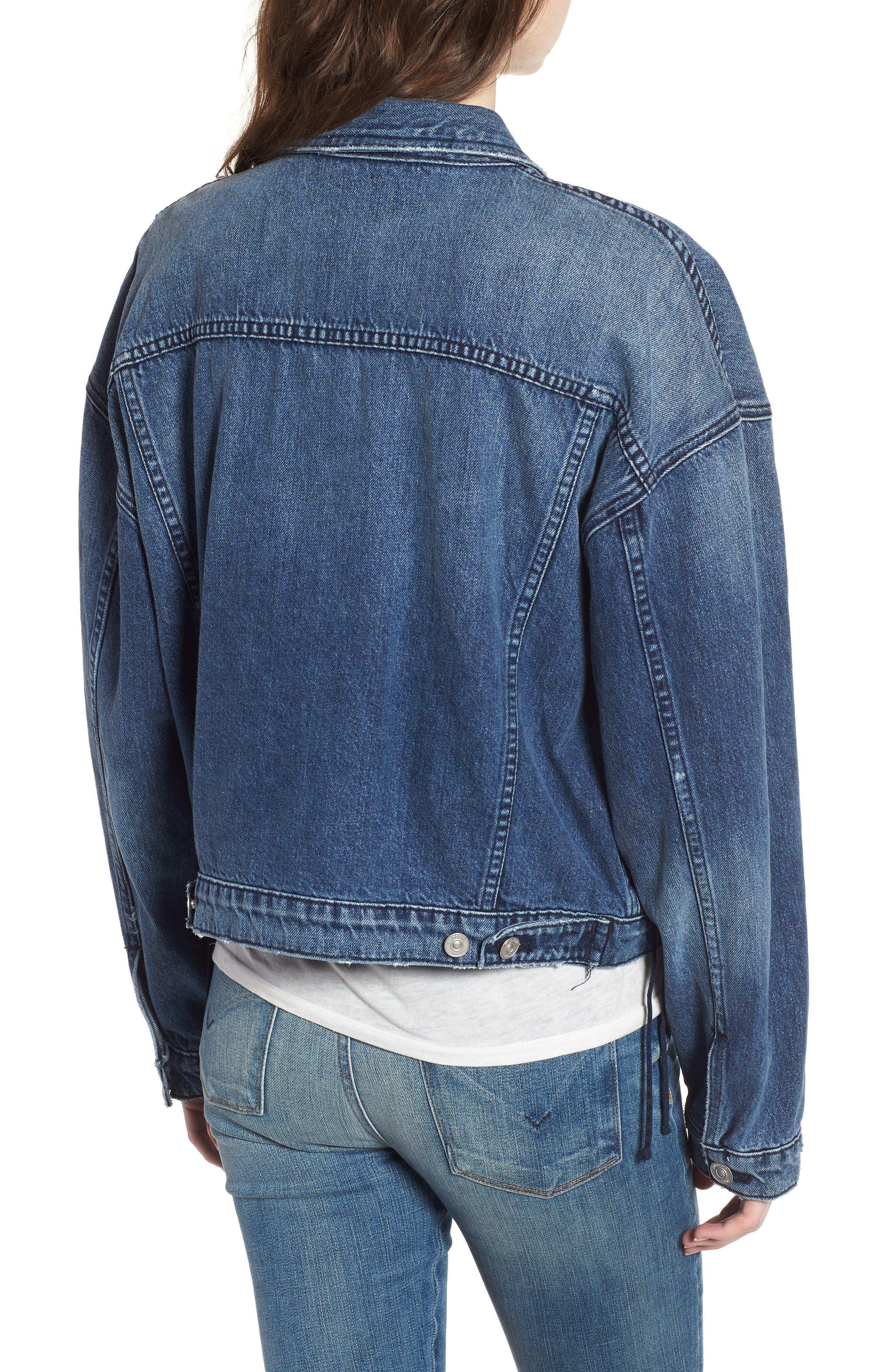Rei Lace-Up Crop Denim Jacket,                             Alternate thumbnail 2, color,