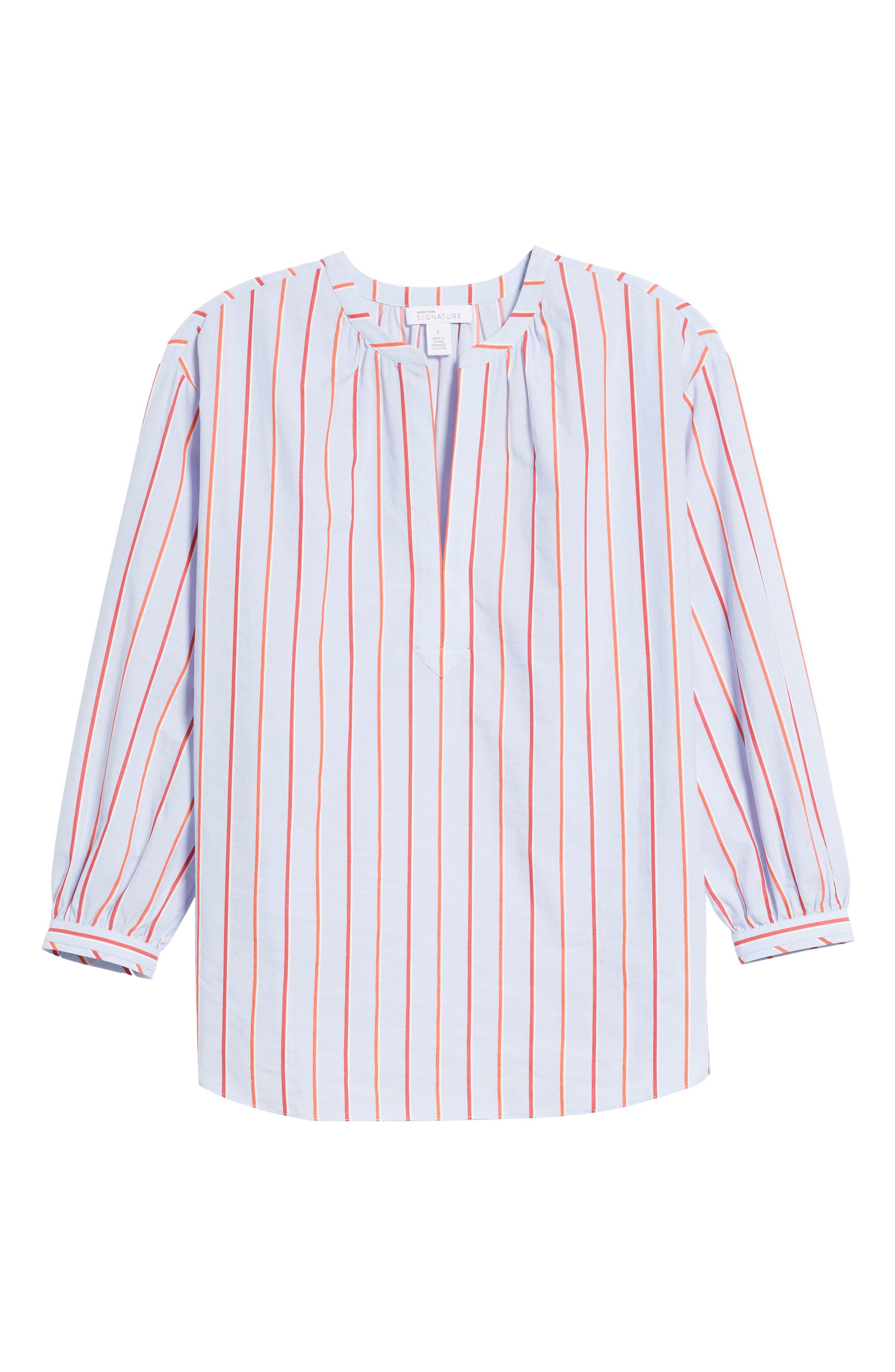 Balloon Sleeve Stripe Shirt,                             Alternate thumbnail 6, color,                             420