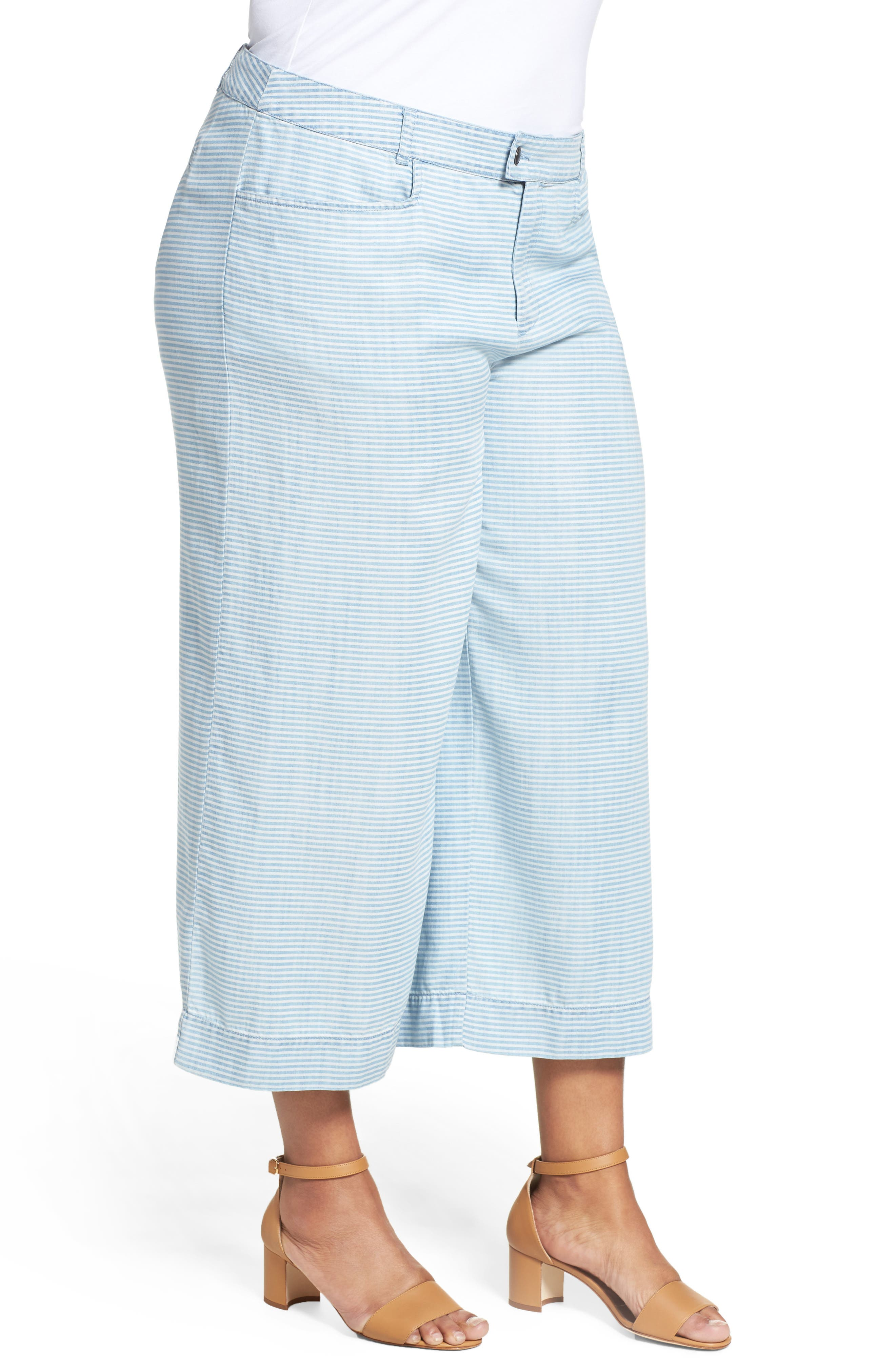 Pinstripe Denim Wide Leg Capri Pants,                             Alternate thumbnail 3, color,