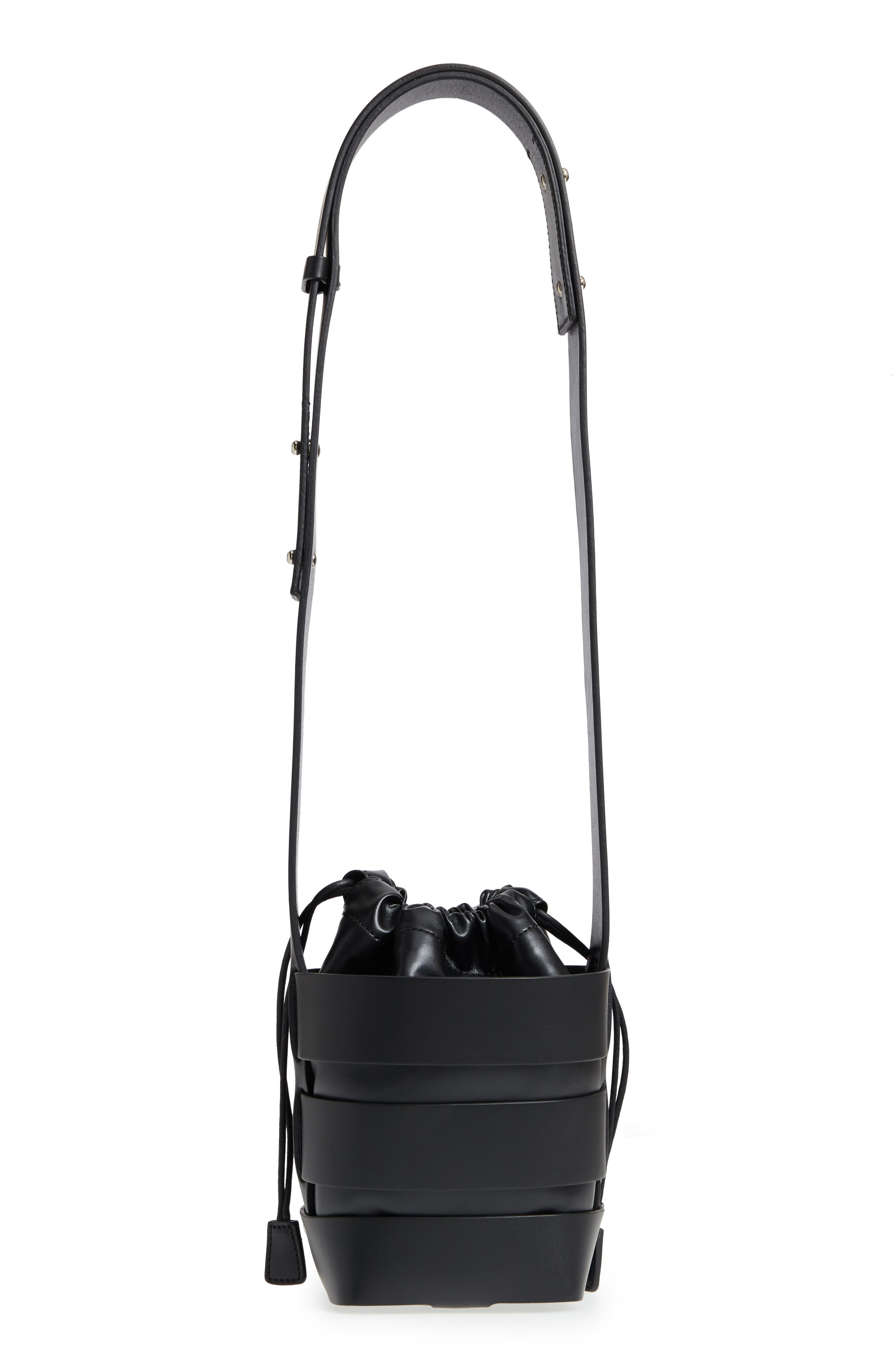 Small Mirror Cage Faux Leather Hobo Bag,                             Alternate thumbnail 3, color,                             BLACK