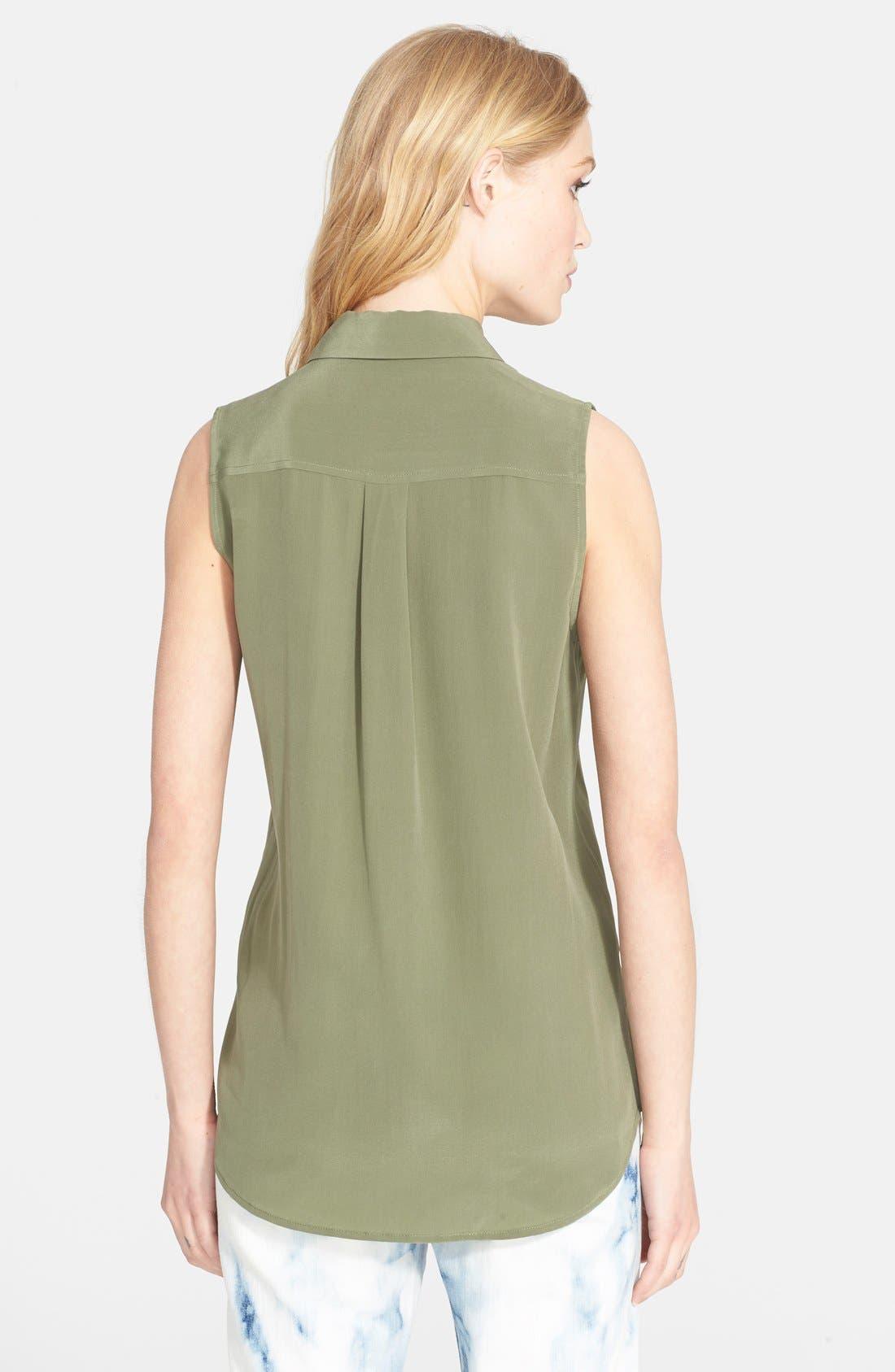 'Slim Signature' Sleeveless Silk Shirt,                             Alternate thumbnail 66, color,