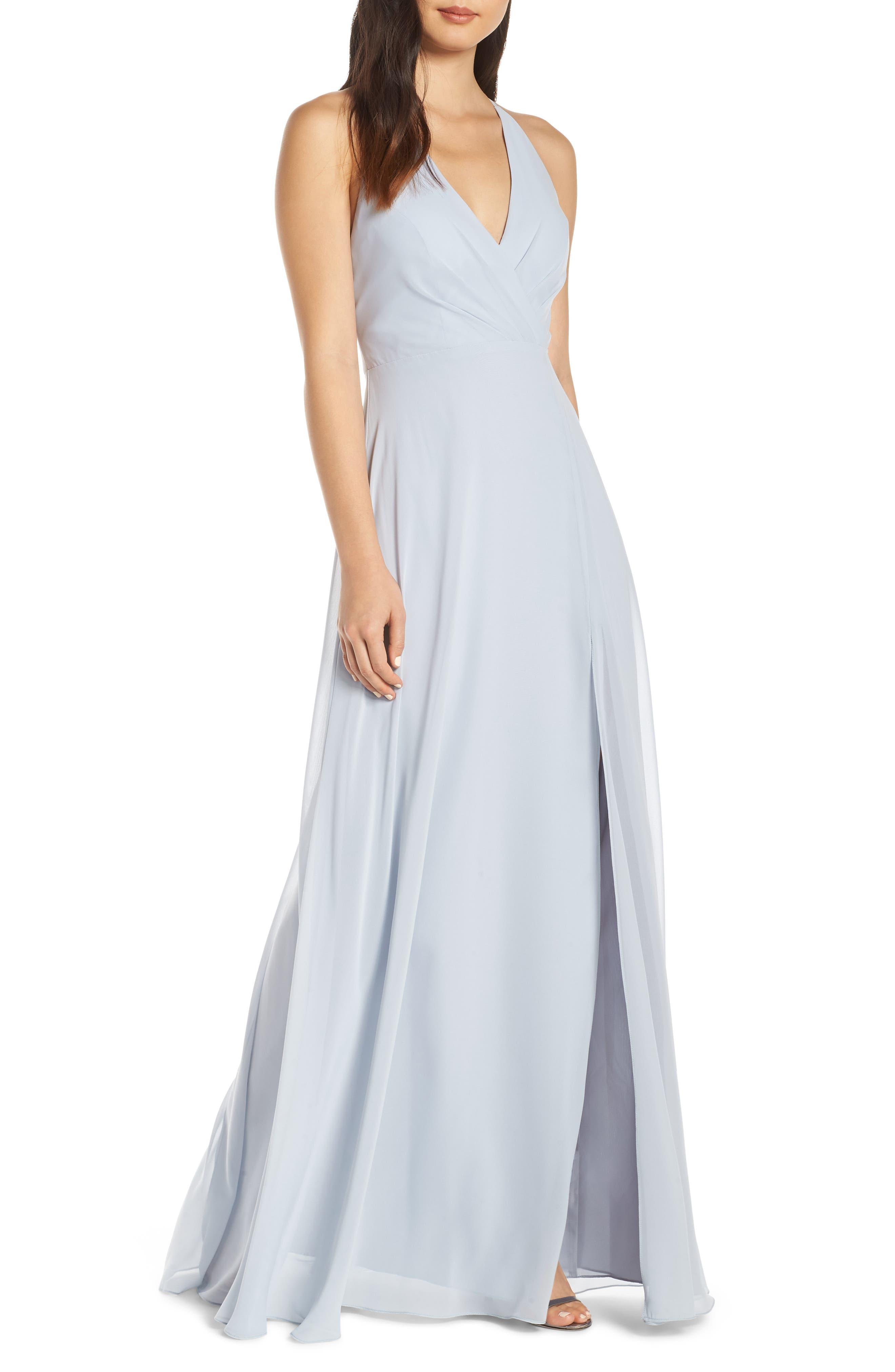 Jenny Yoo Bryce Surplice V-Neck Chiffon Evening Dress, Blue