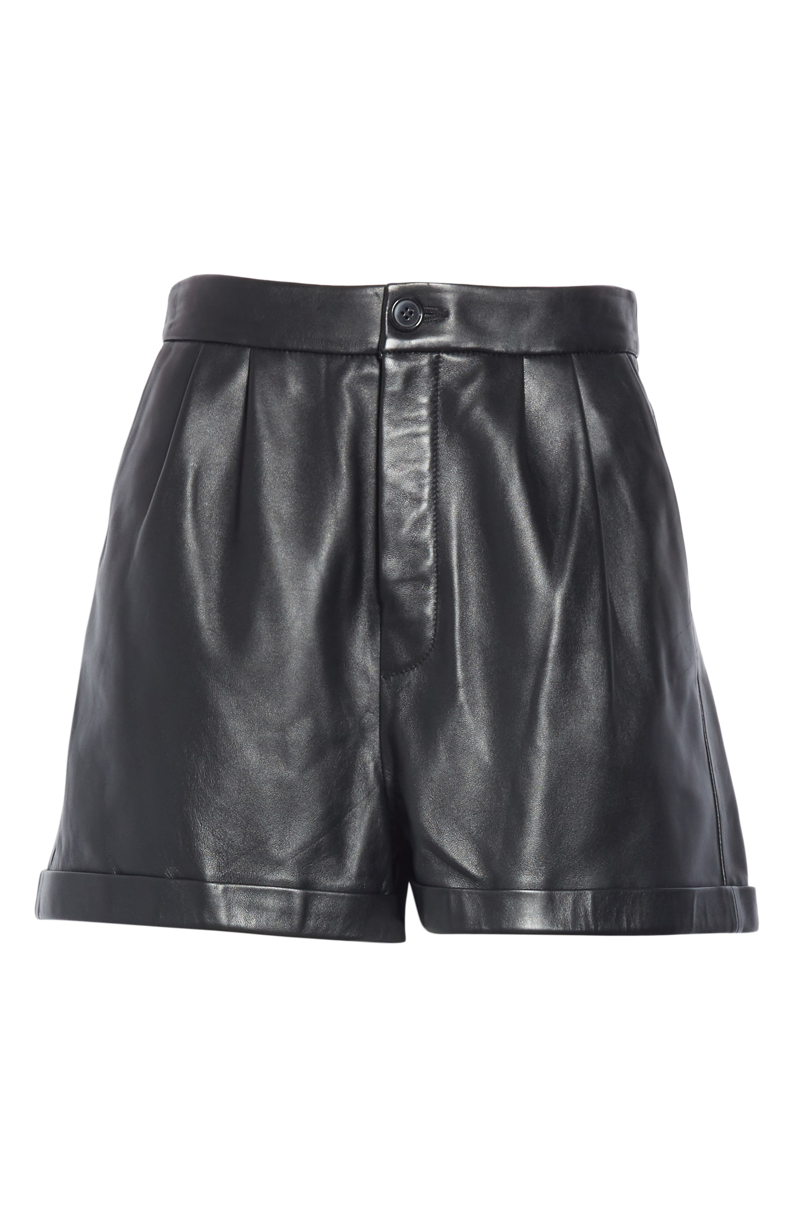Pleated Leather Shorts,                             Alternate thumbnail 6, color,                             NOIR