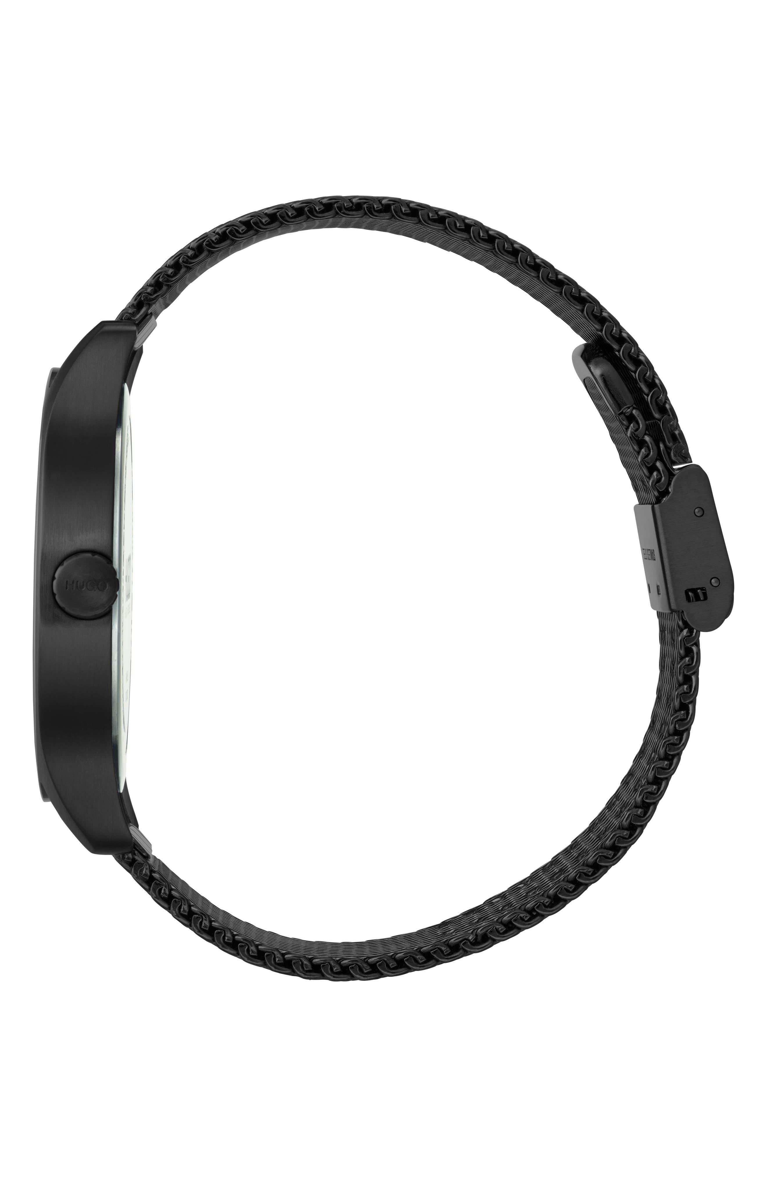 Mesh Strap Bracelet, 42mm,                             Alternate thumbnail 3, color,                             BLACK