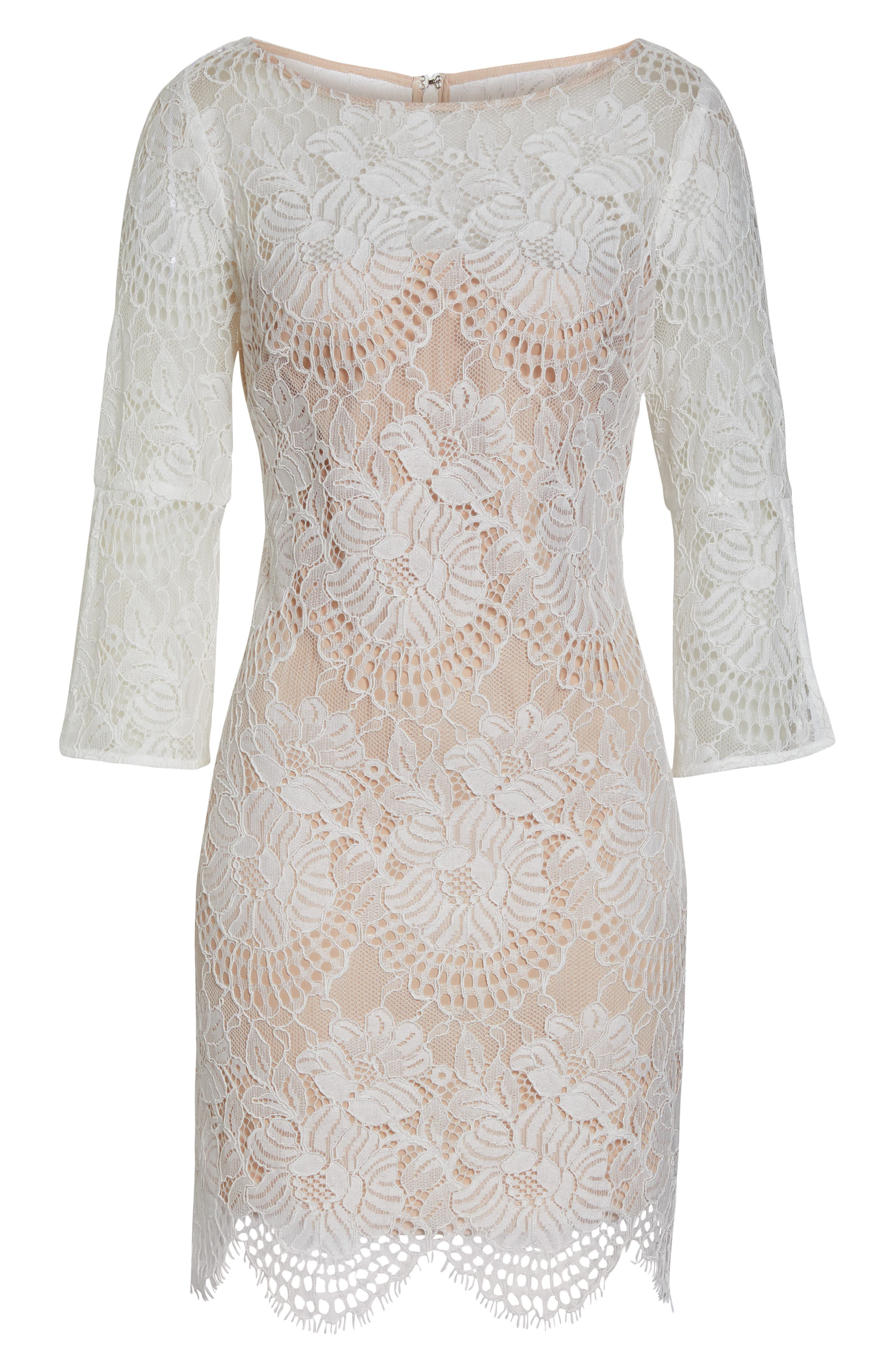 VINCE CAMUTO,                             Lace Shift Dress,                             Alternate thumbnail 7, color,                             IVORY