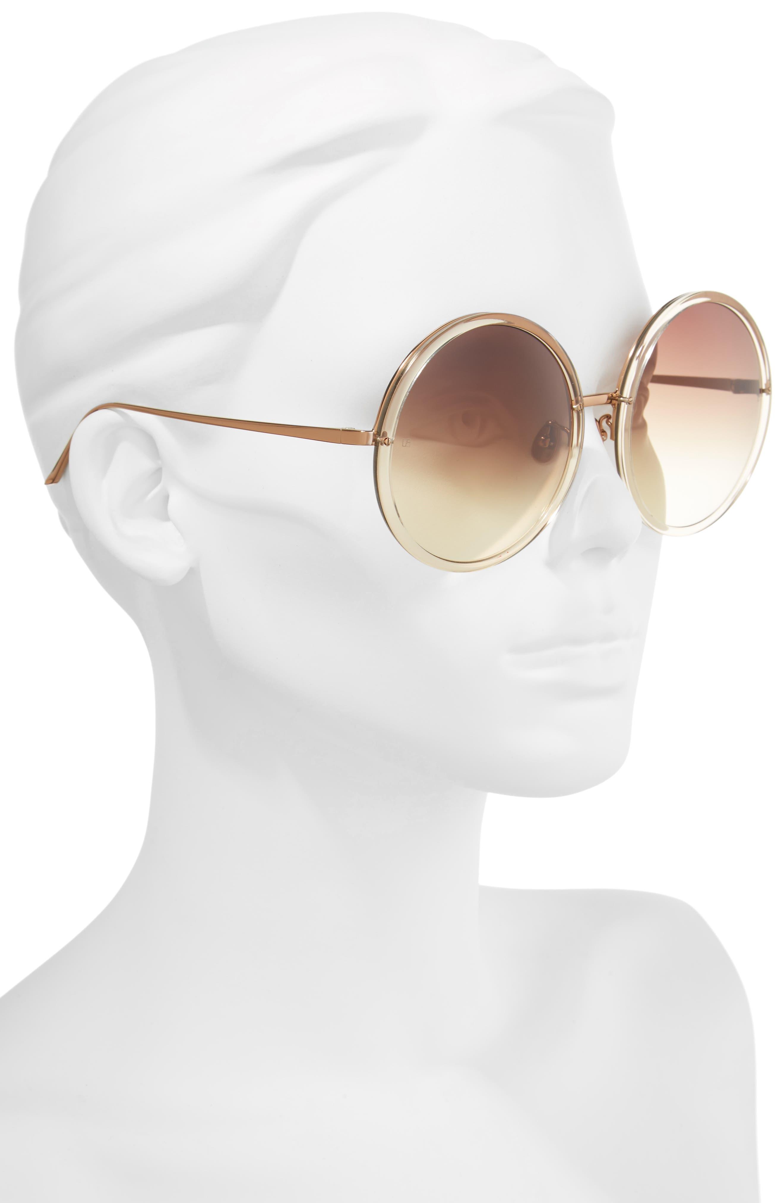 61mm Round 18 Karat Gold Trim Sunglasses,                             Alternate thumbnail 2, color,                             020