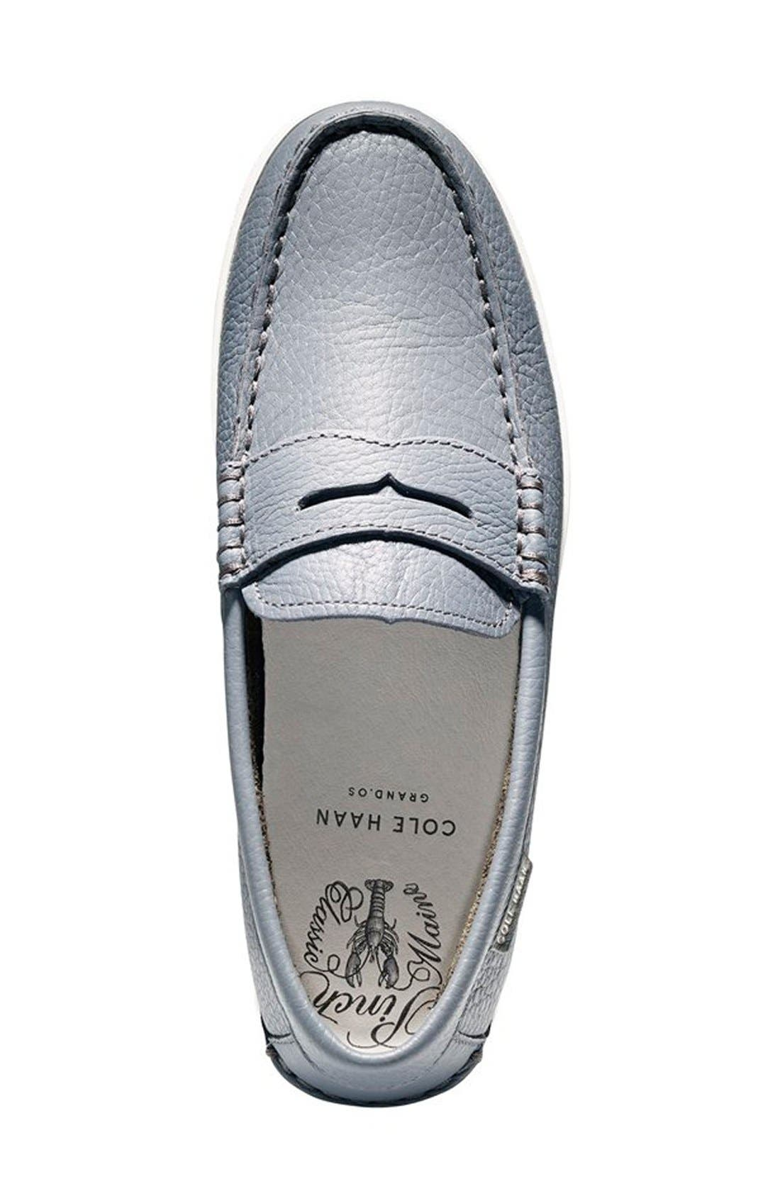 'Pinch' Penny Loafer,                             Alternate thumbnail 4, color,                             GREY LEATHER/ WHITE