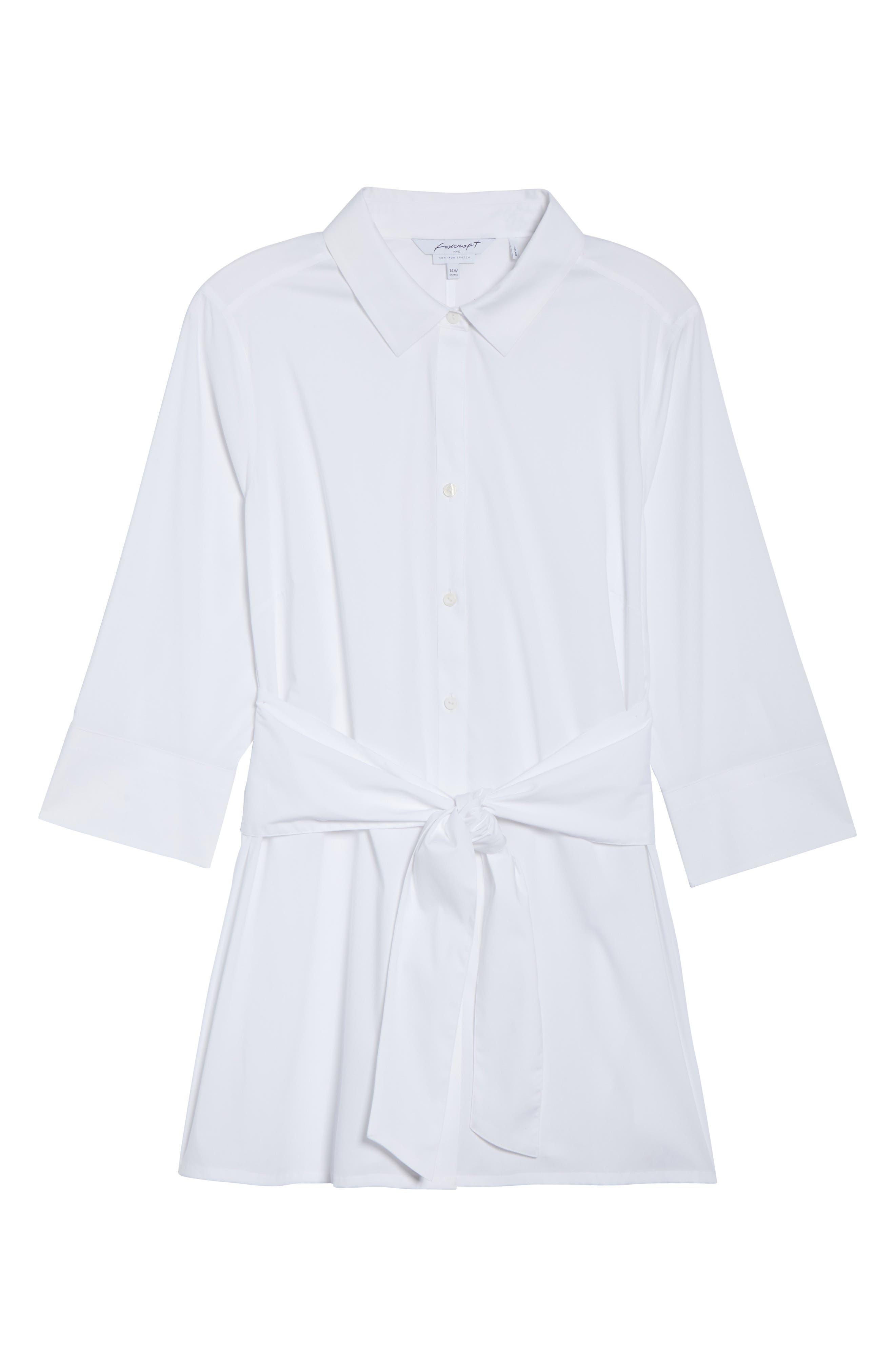 Michaela Solid Tie Front Shirt,                             Alternate thumbnail 7, color,                             WHITE