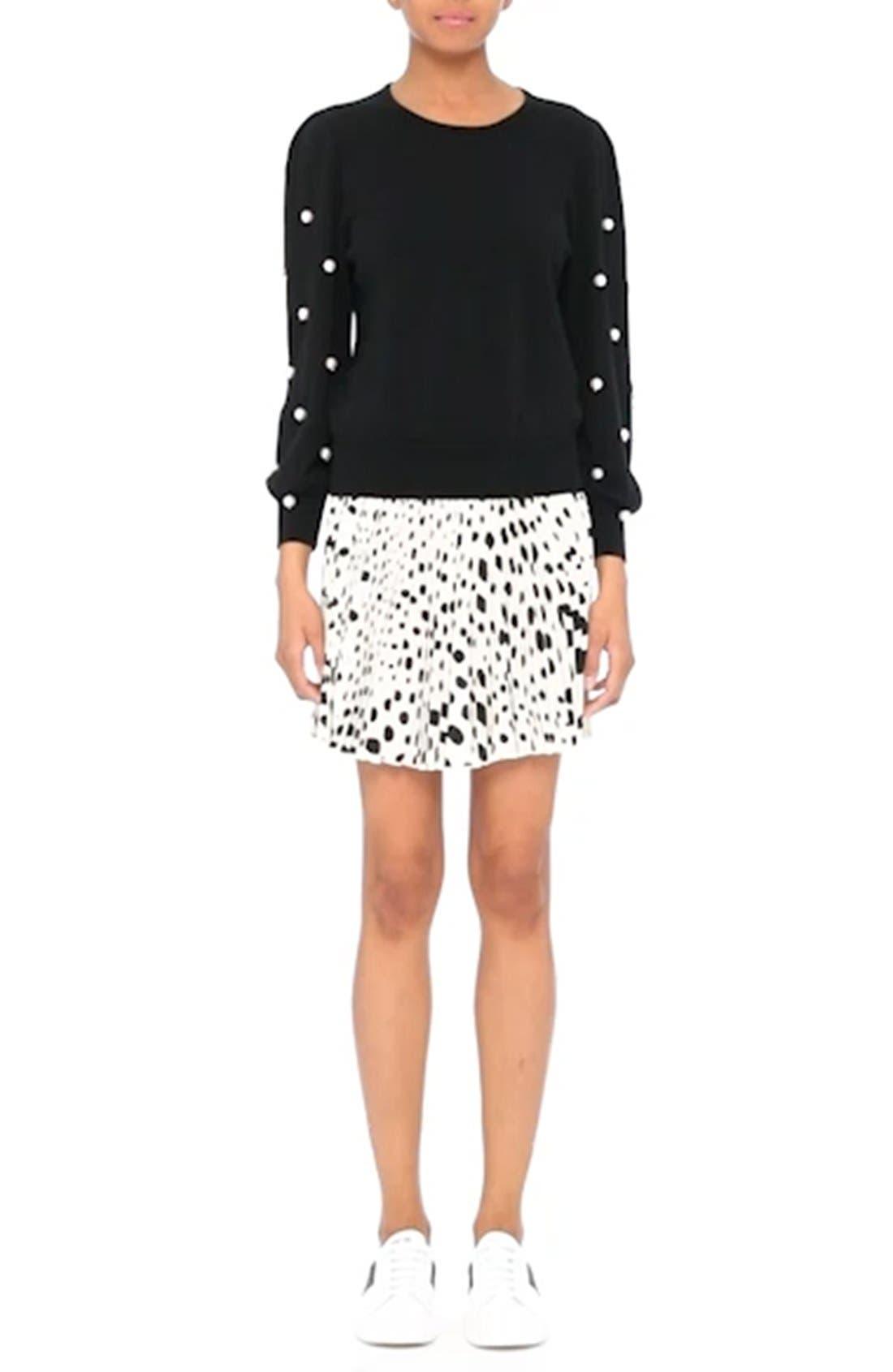 Pleated Polka Dot Silk Skirt,                             Alternate thumbnail 9, color,                             160