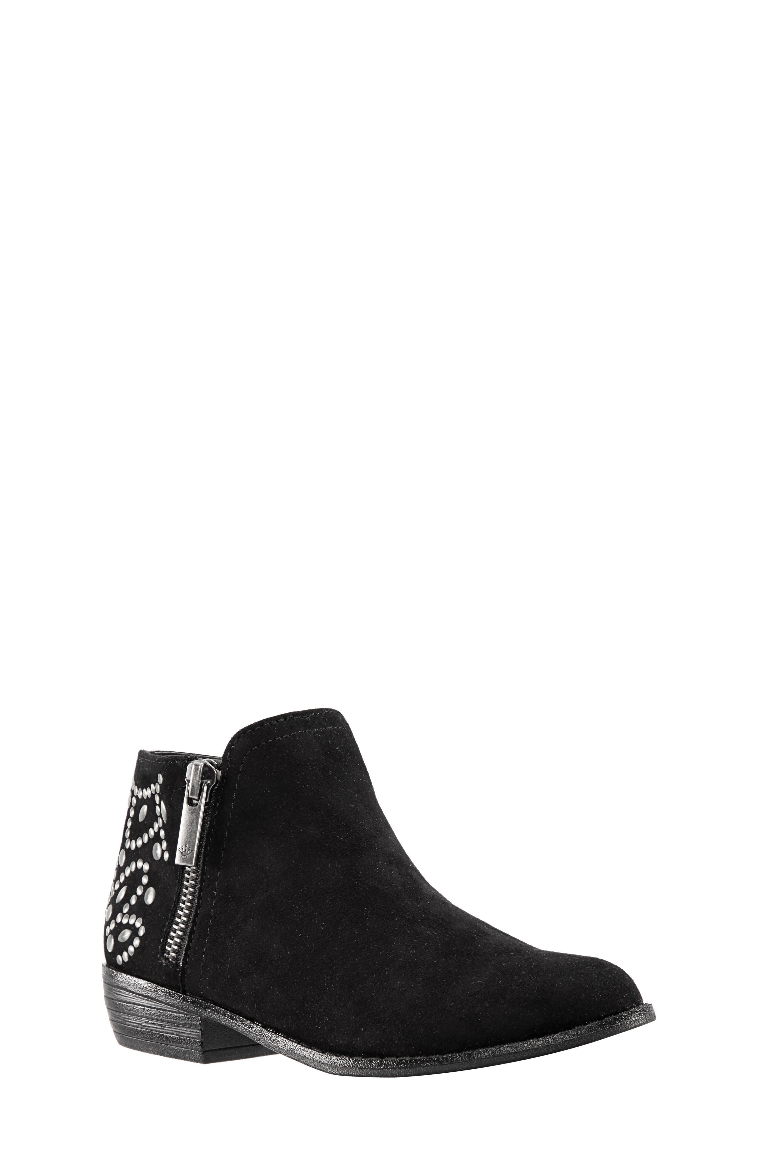 Destany Block Heel Bootie,                         Main,                         color, BLACK MICRO SUEDE