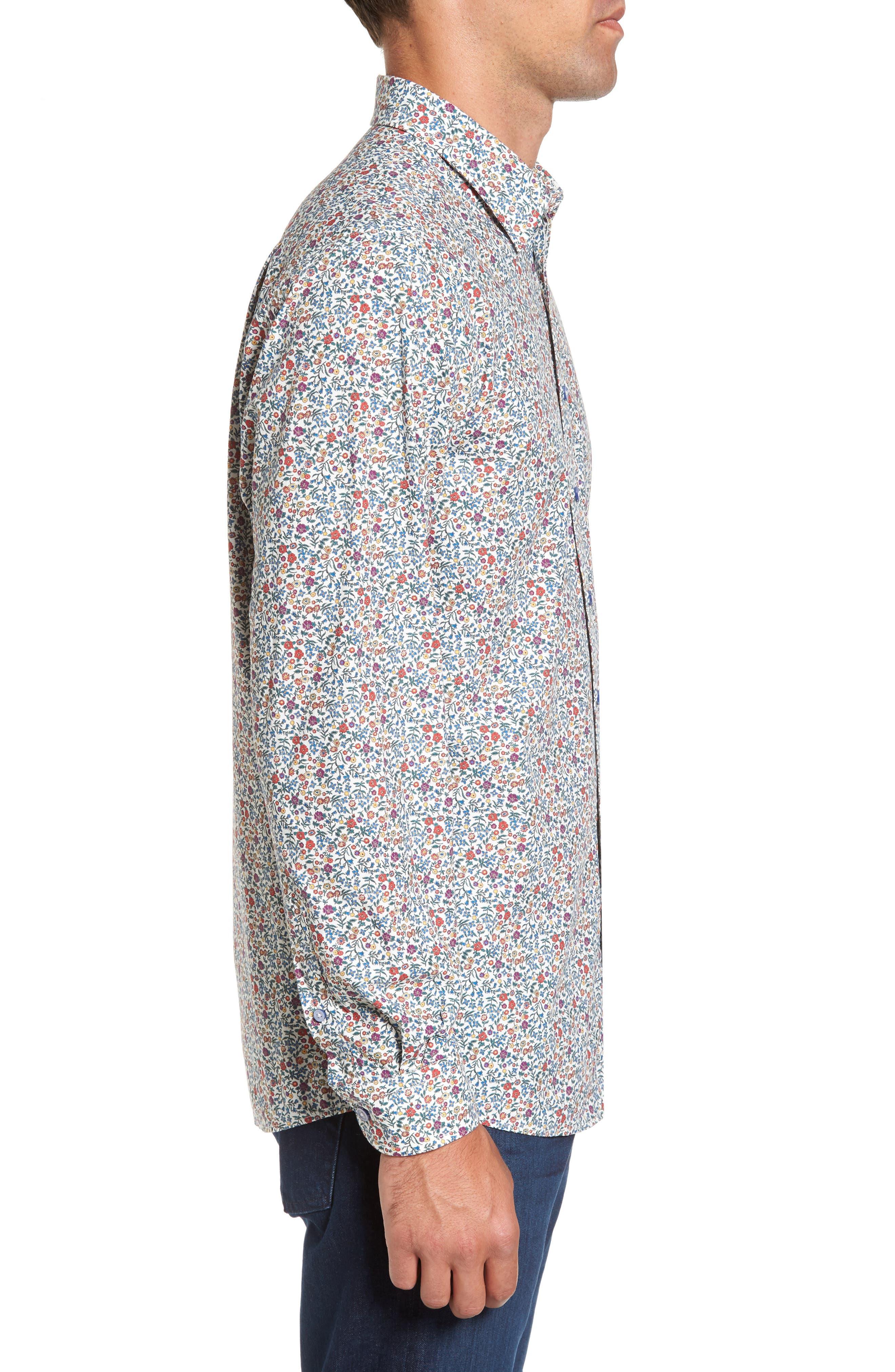 Cowes Bay Regular Fit Floral Sport Shirt,                             Alternate thumbnail 3, color,