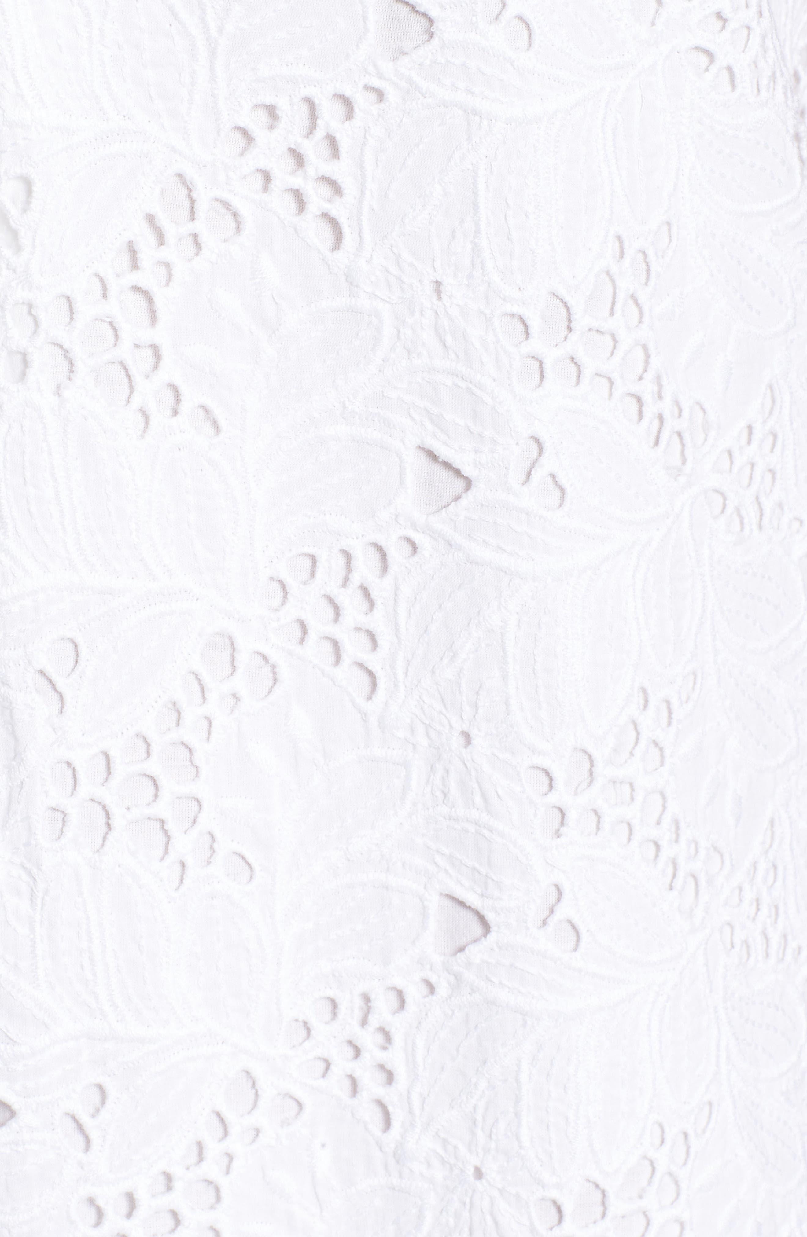 Eyelet Cotton Shift Dress,                             Alternate thumbnail 5, color,                             100