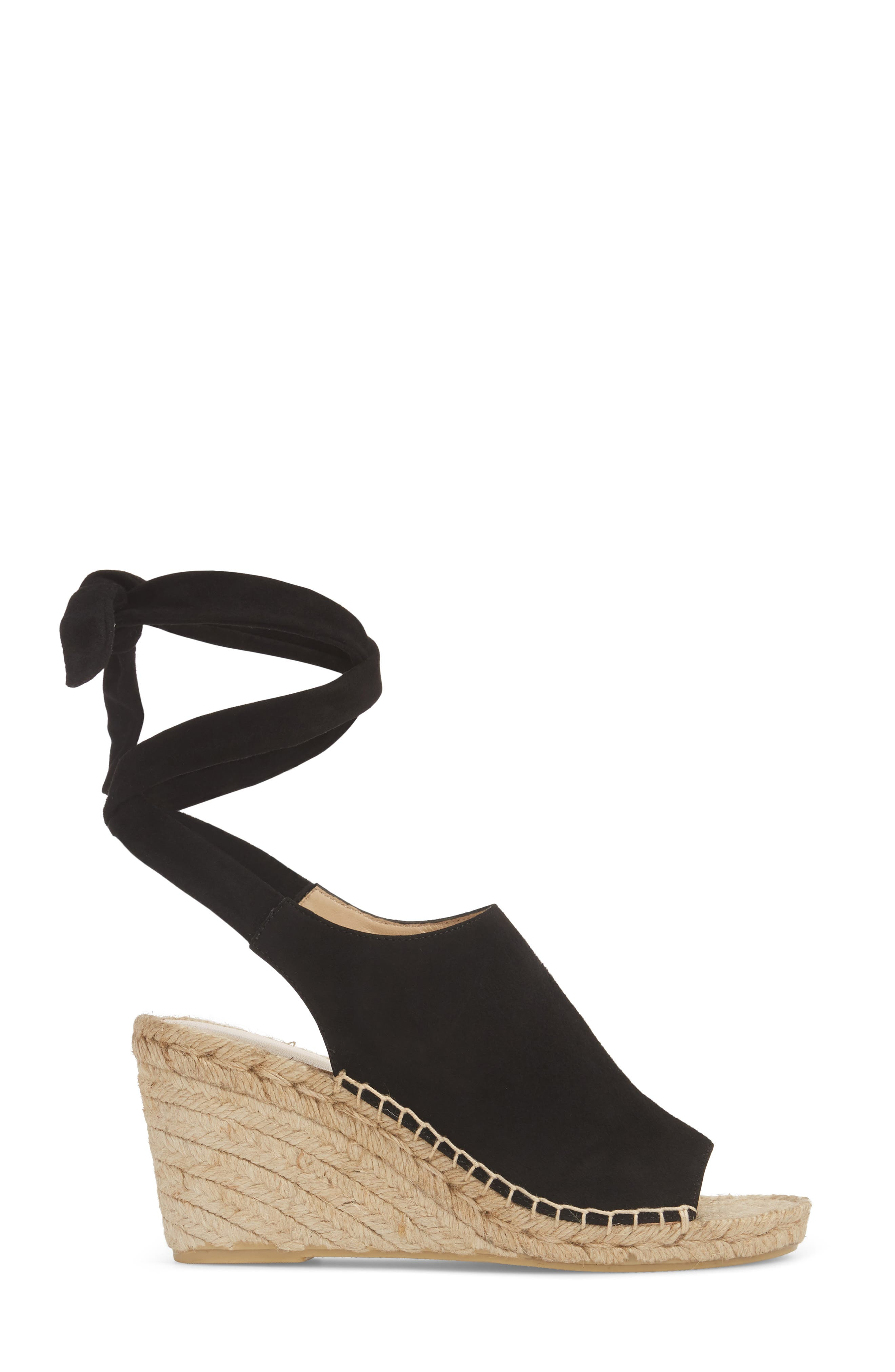 Vie Espadrille Wedge Sandal,                             Alternate thumbnail 3, color,                             BLACK SUEDE