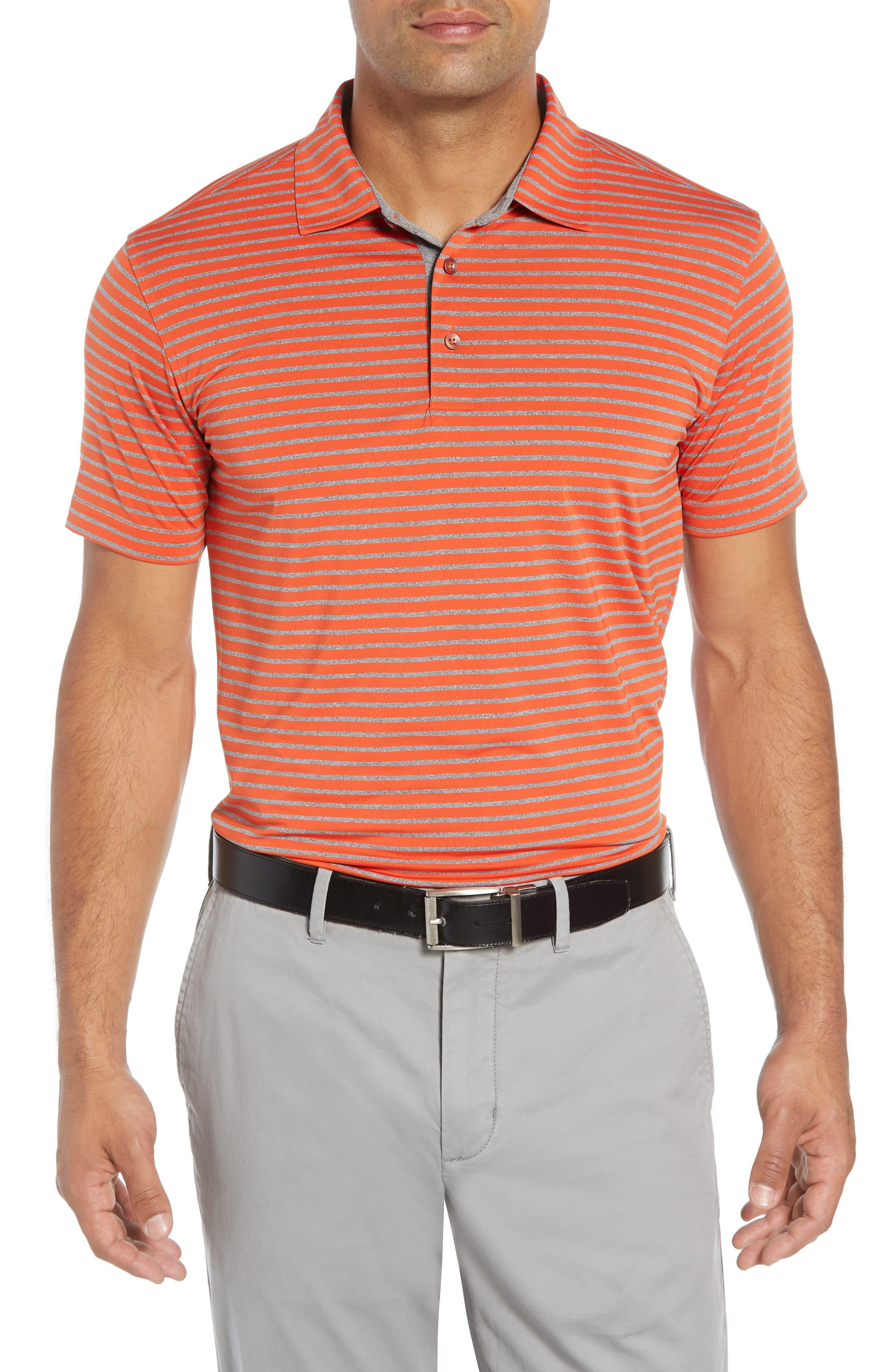BOBBY JONES Control Stripe Jersey Polo in Orange