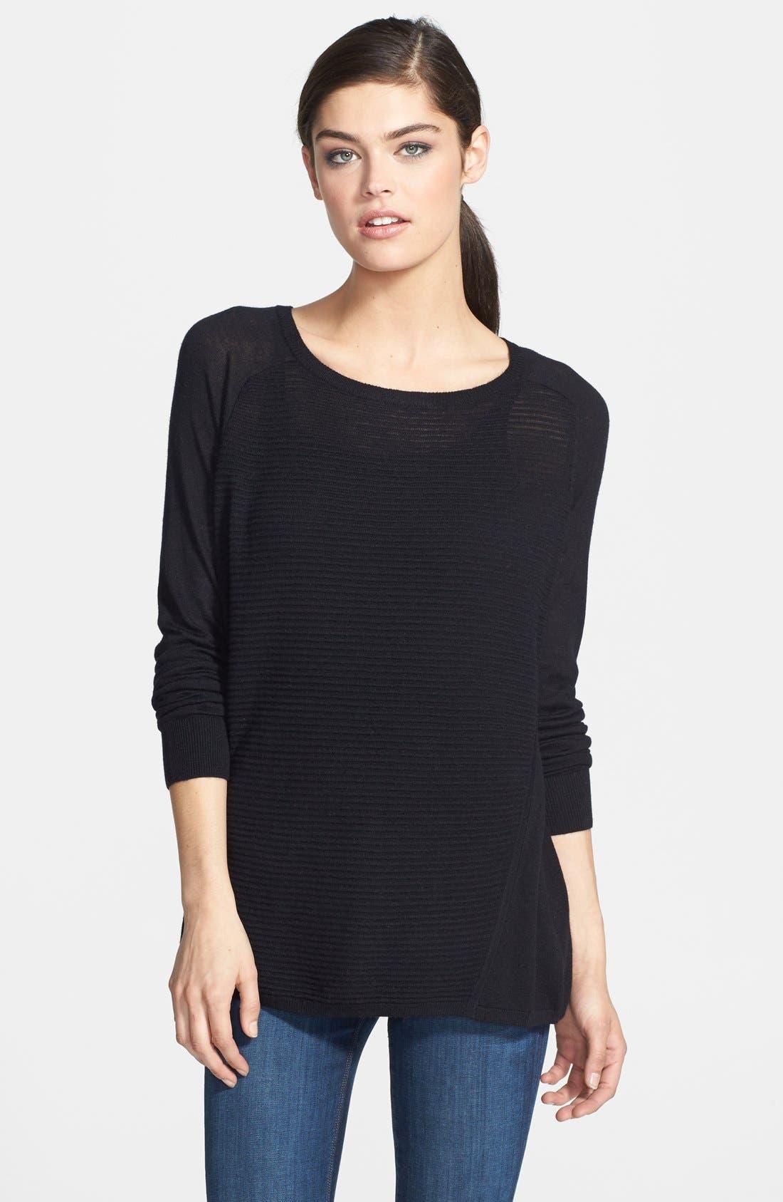 Textured Stripe Lightweight Crewneck Sweater,                             Main thumbnail 1, color,                             001