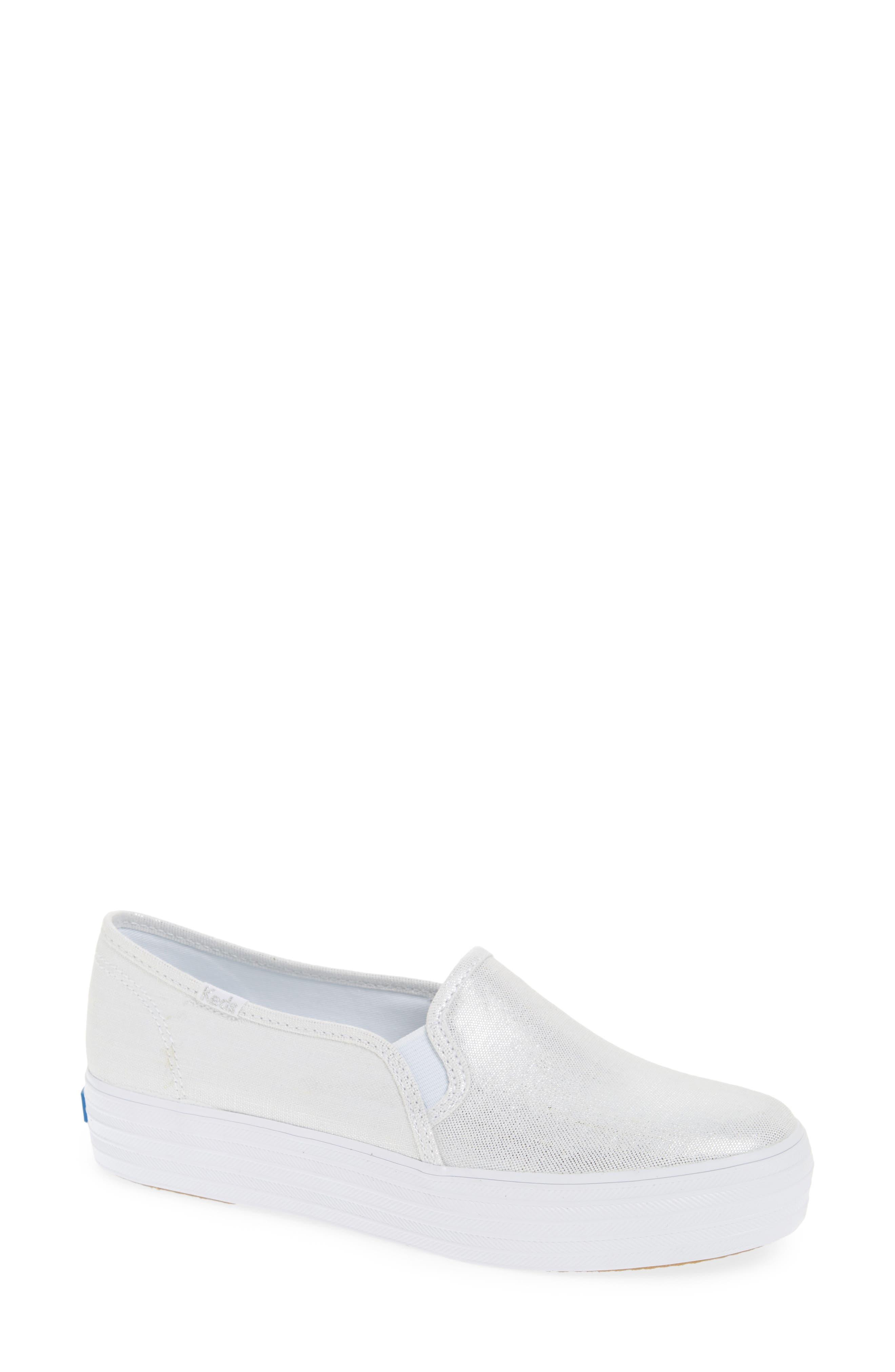 Triple Decker Metallic Linen Slip-On Sneaker,                             Main thumbnail 1, color,