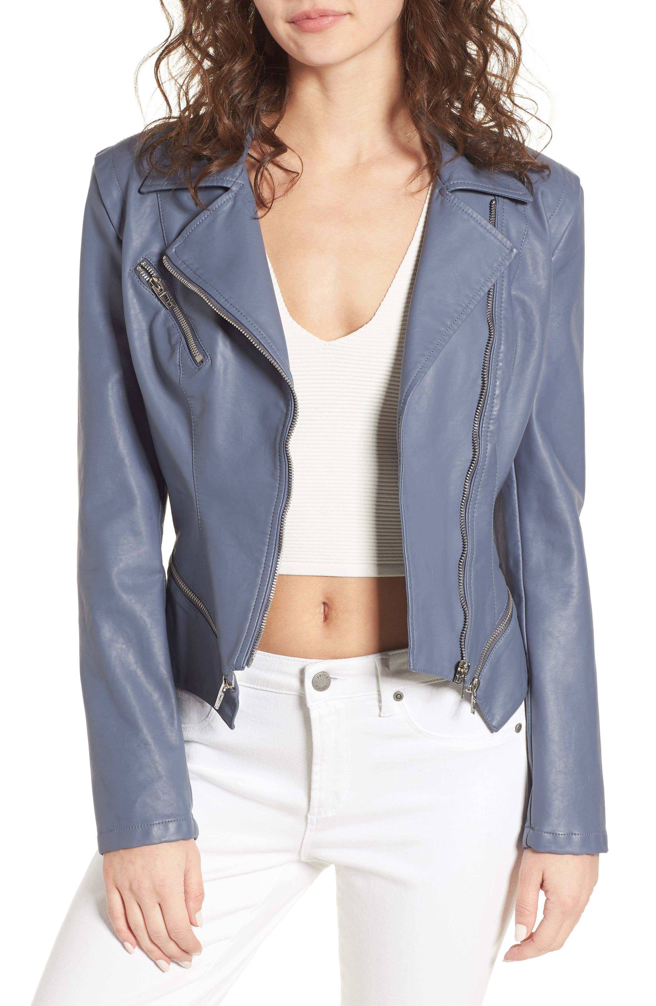Faux Leather Moto Jacket, Main, color, GREY GRISAILLE