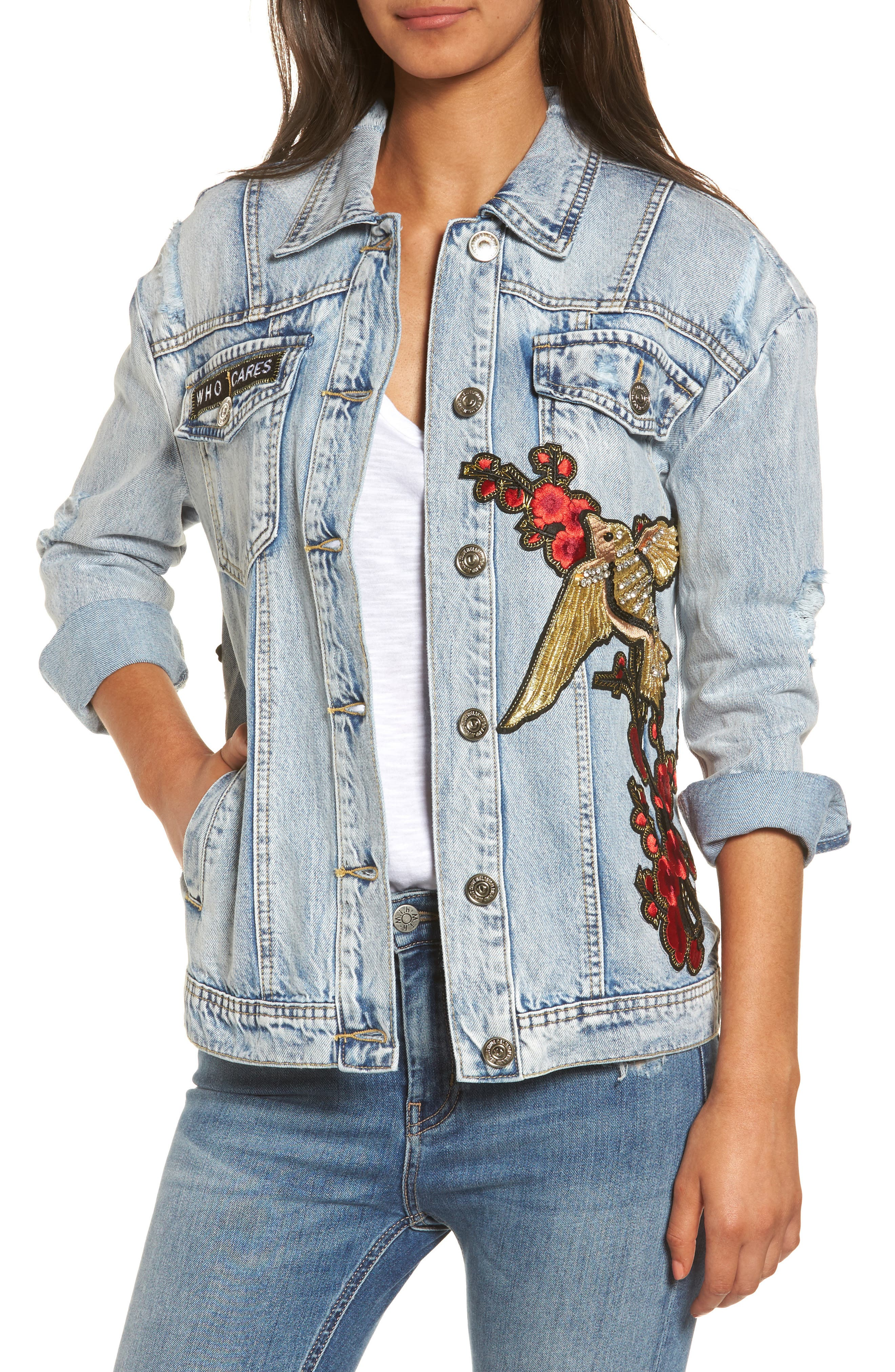 Denim Trucker Jacket,                             Main thumbnail 1, color,                             403