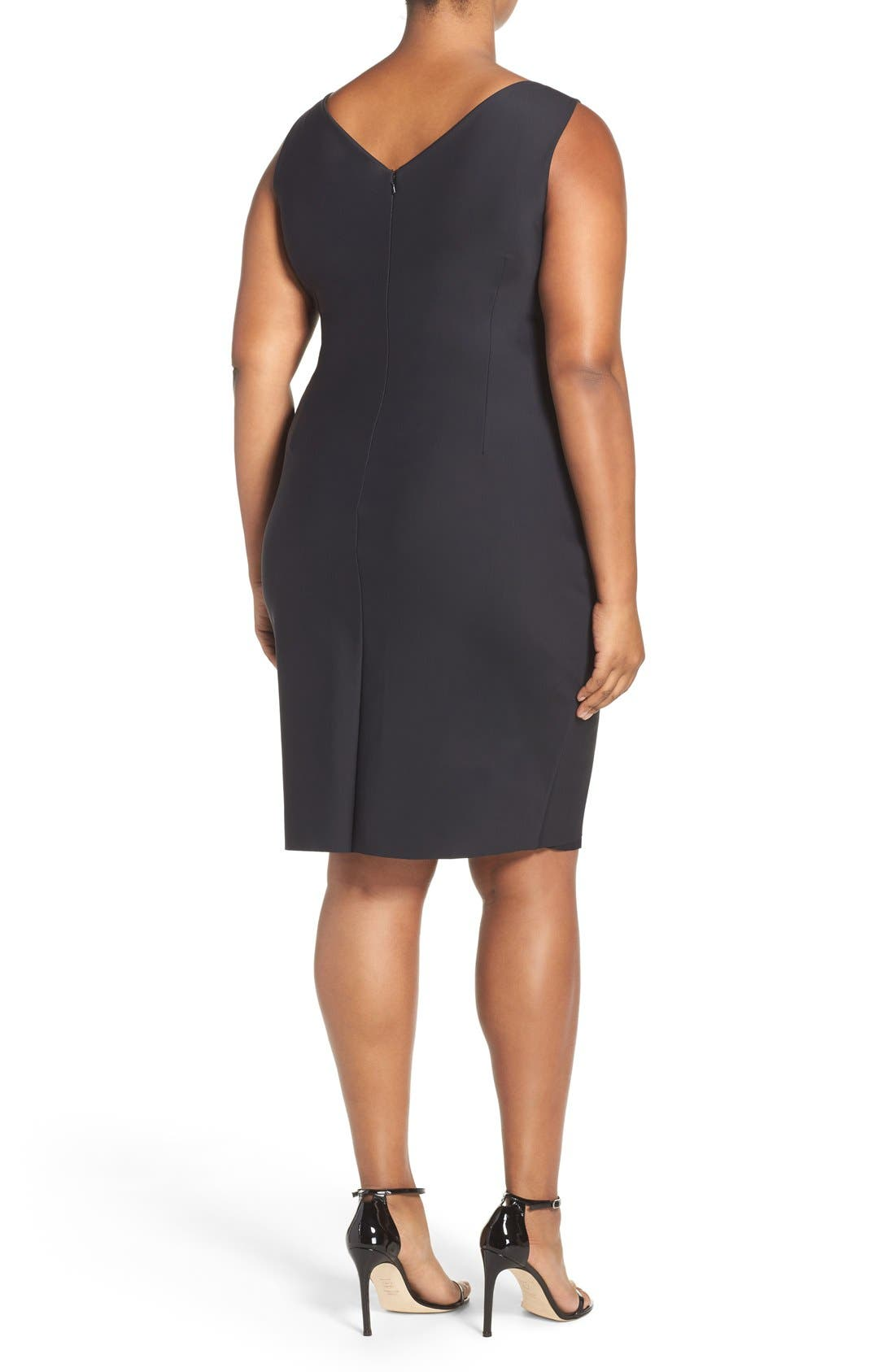 Embellished Surplice Sheath Dress,                             Alternate thumbnail 2, color,                             001
