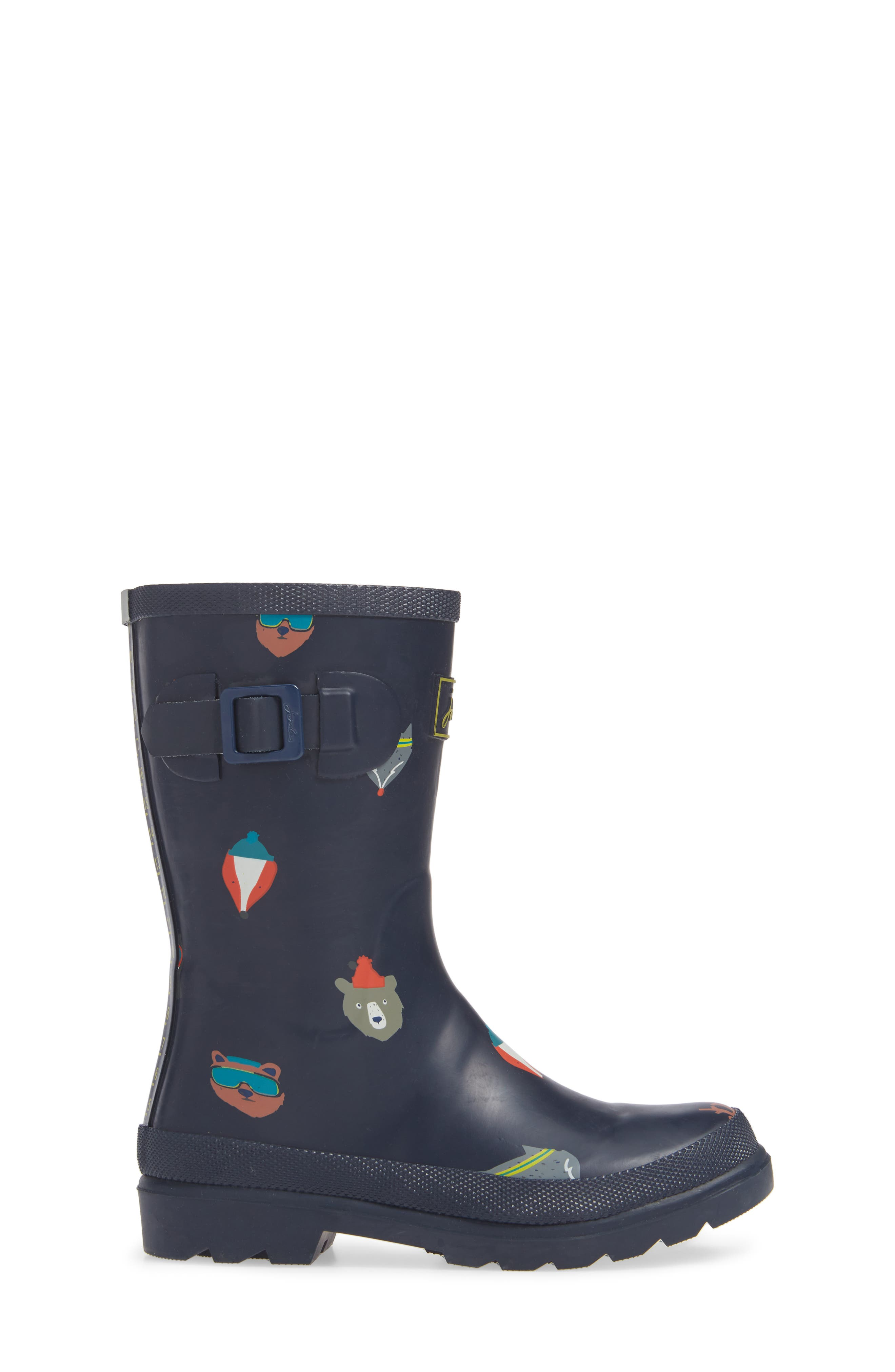 Welly Print Waterproof Rain Boot,                             Alternate thumbnail 3, color,                             FRENCH NAVY ANIMALS
