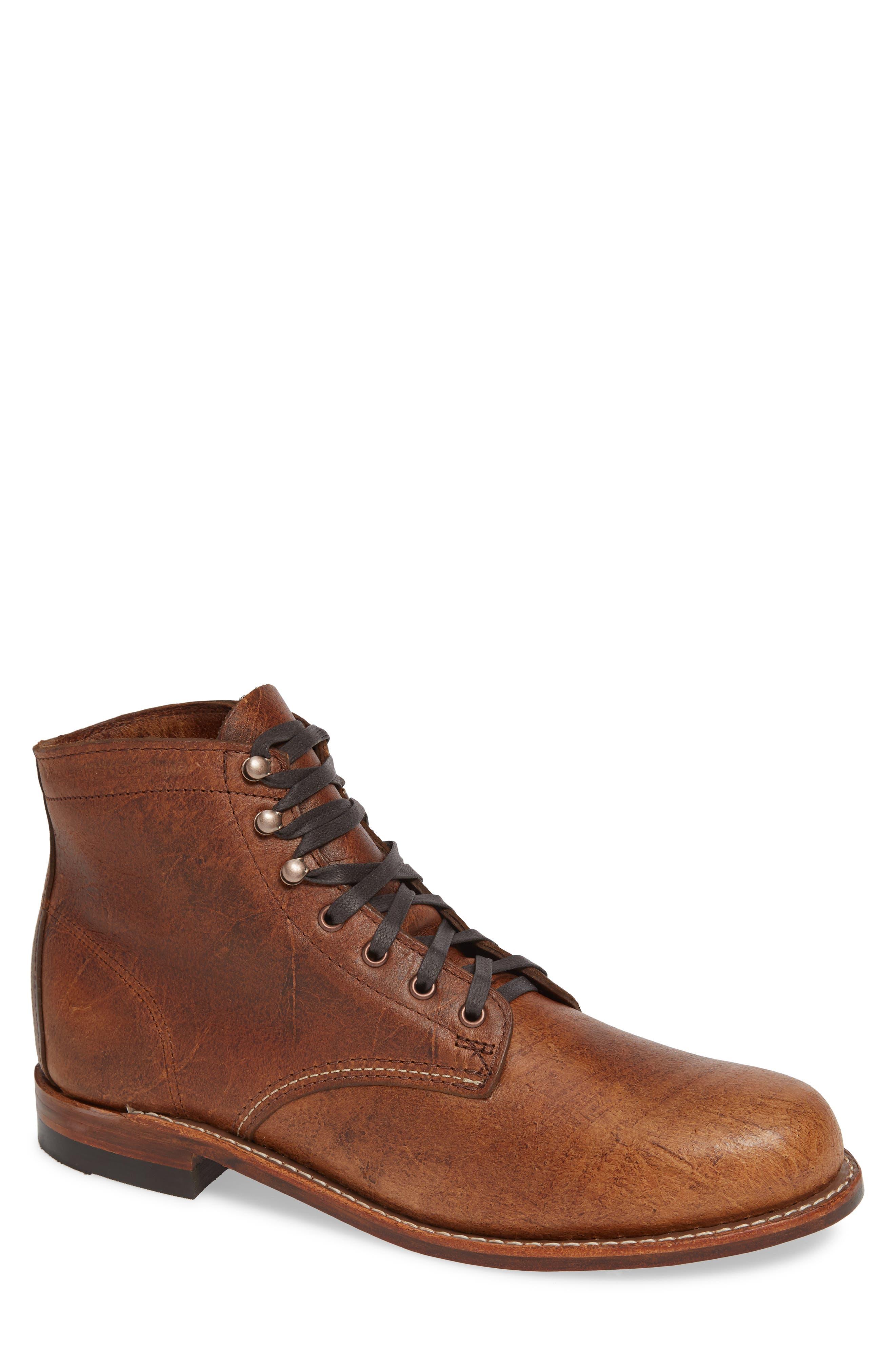 WOLVERINE '1000 Mile' Plain Toe Boot in Cognac