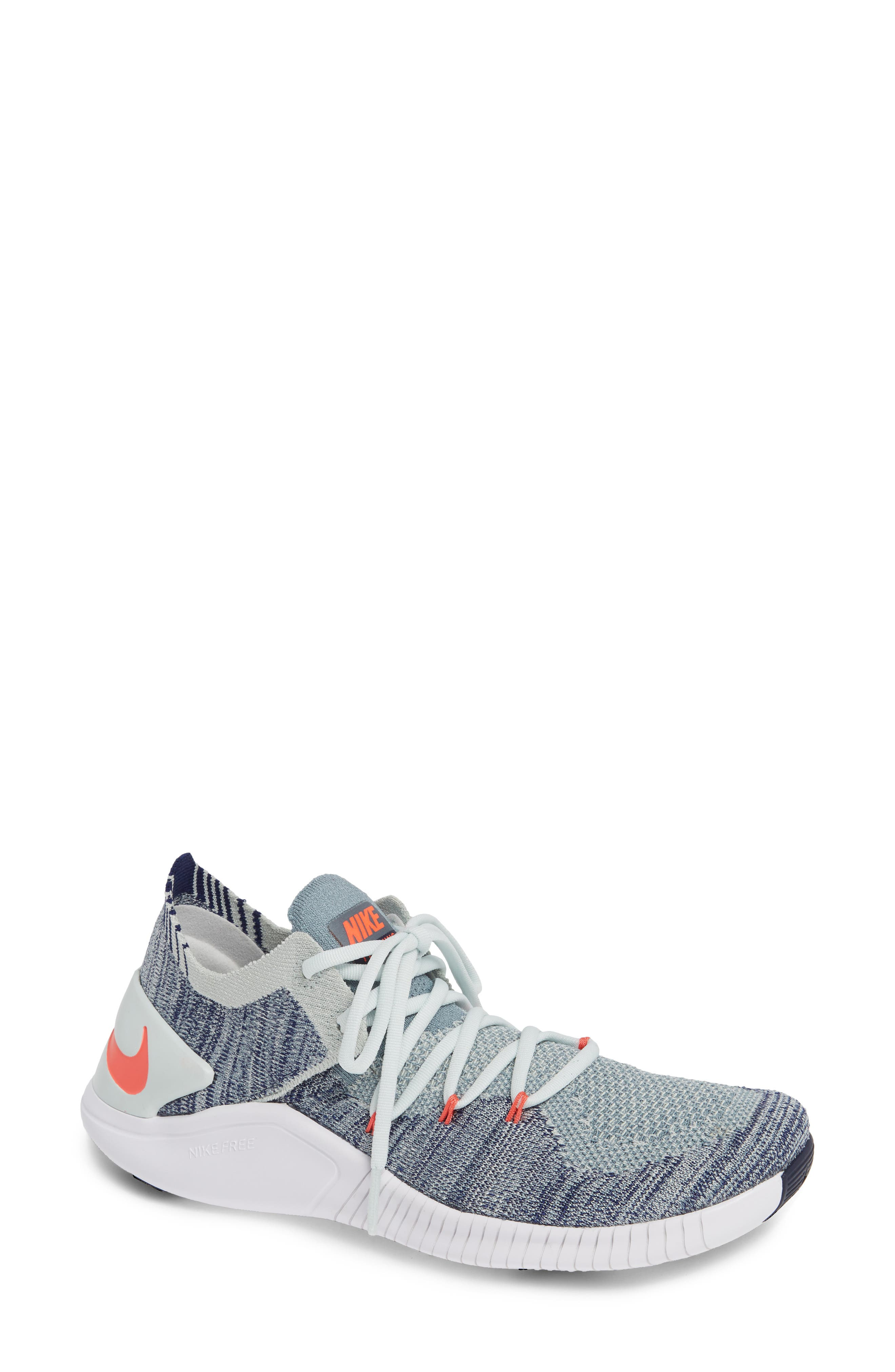 Free TR Flyknit 3 Training Shoe,                         Main,                         color, BARELY GREY/ EMBER GLOW/ BLUE
