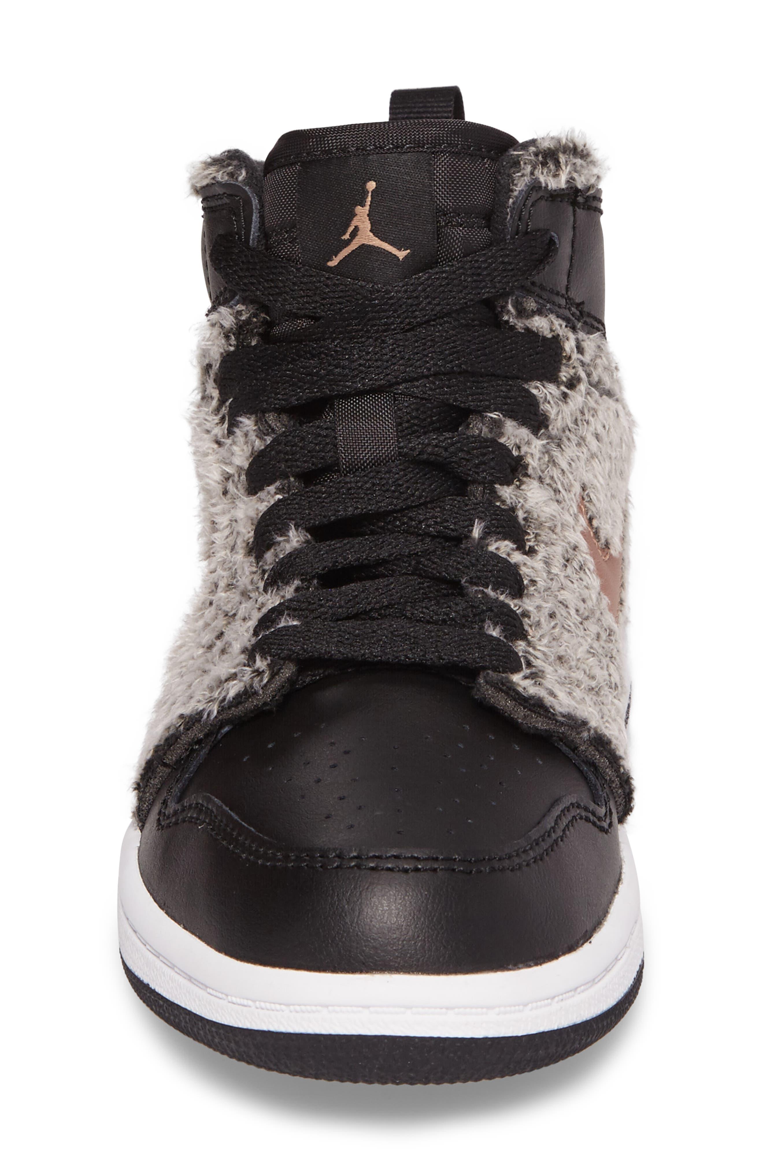 Nike Air Jordan 1 Retro Faux Fur High Top Sneaker,                             Alternate thumbnail 4, color,                             001