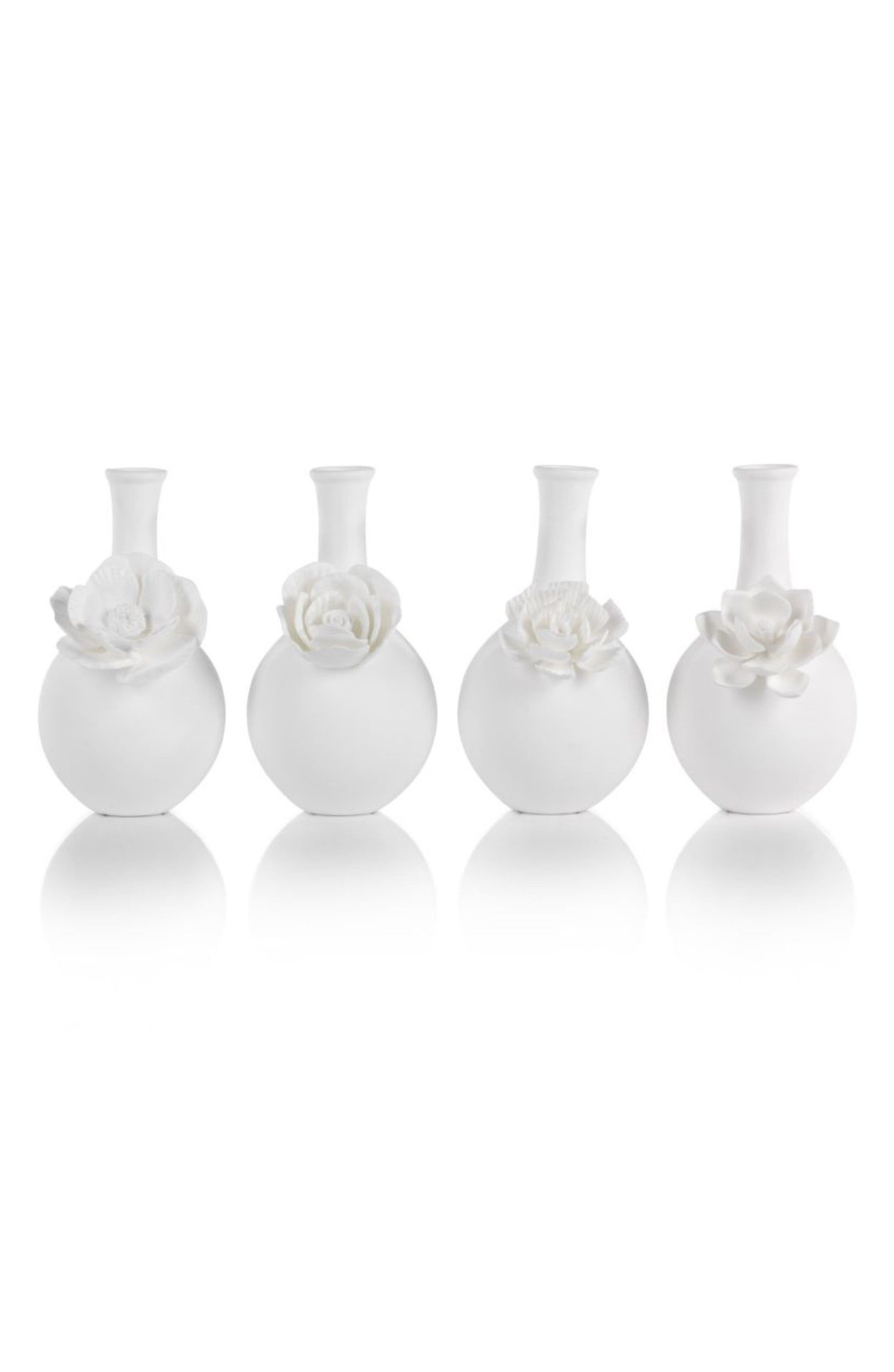 Cameo Set of 4 Porcelain Bud Vases,                             Main thumbnail 1, color,                             WHITE
