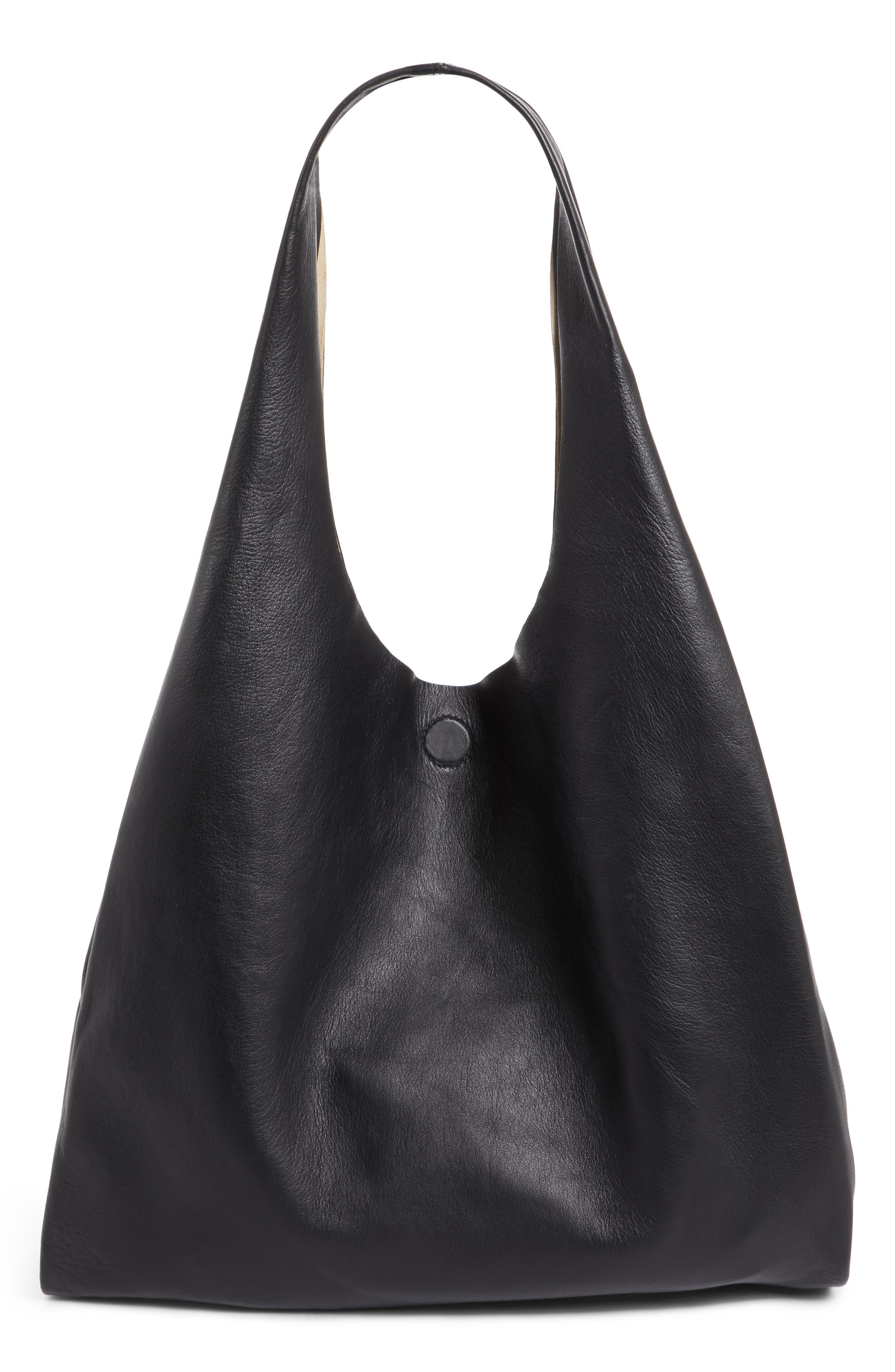 Calfskin Leather Shopper,                             Main thumbnail 1, color,                             001