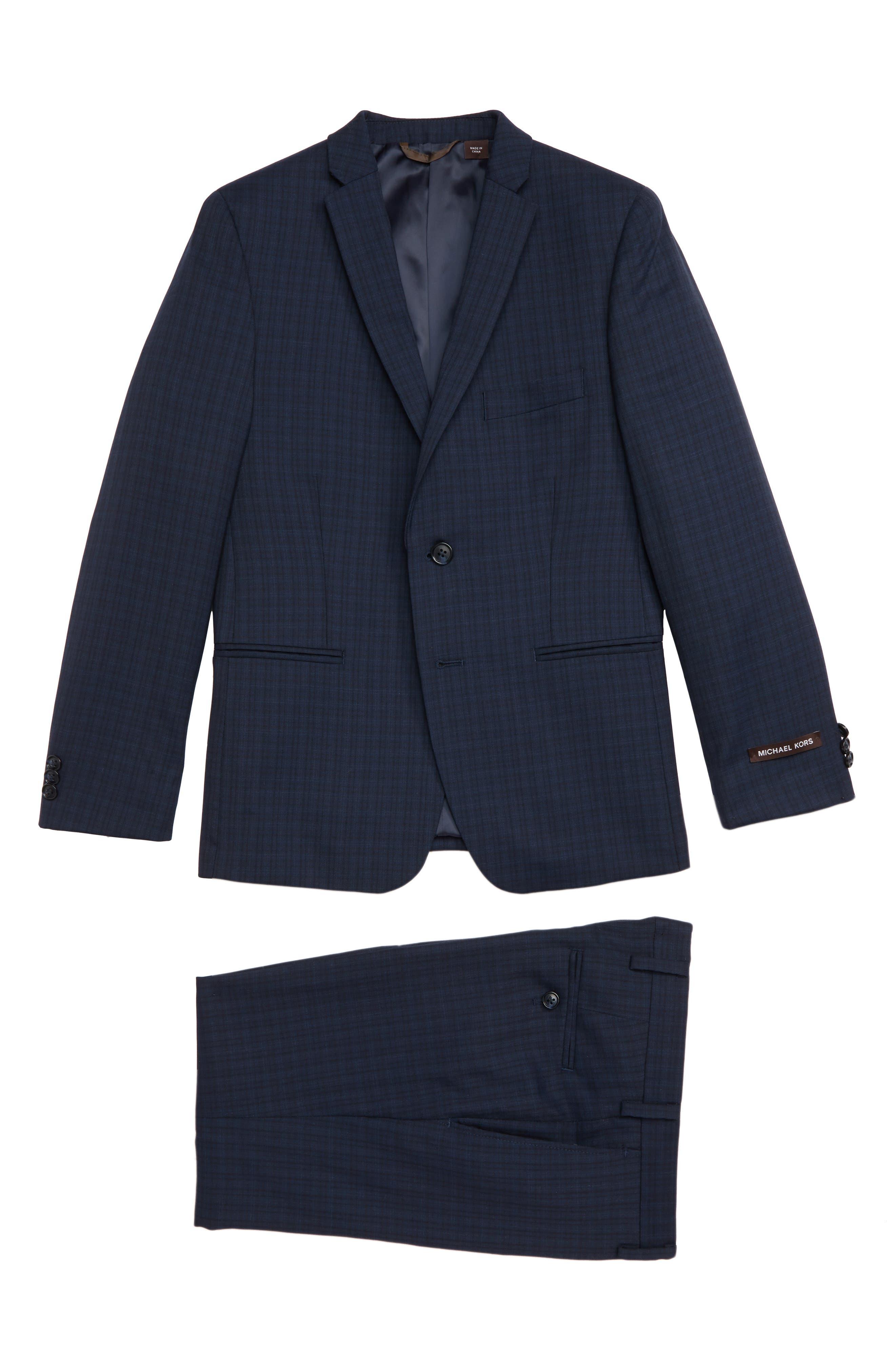 Plaid Wool Suit,                         Main,                         color, BLUE