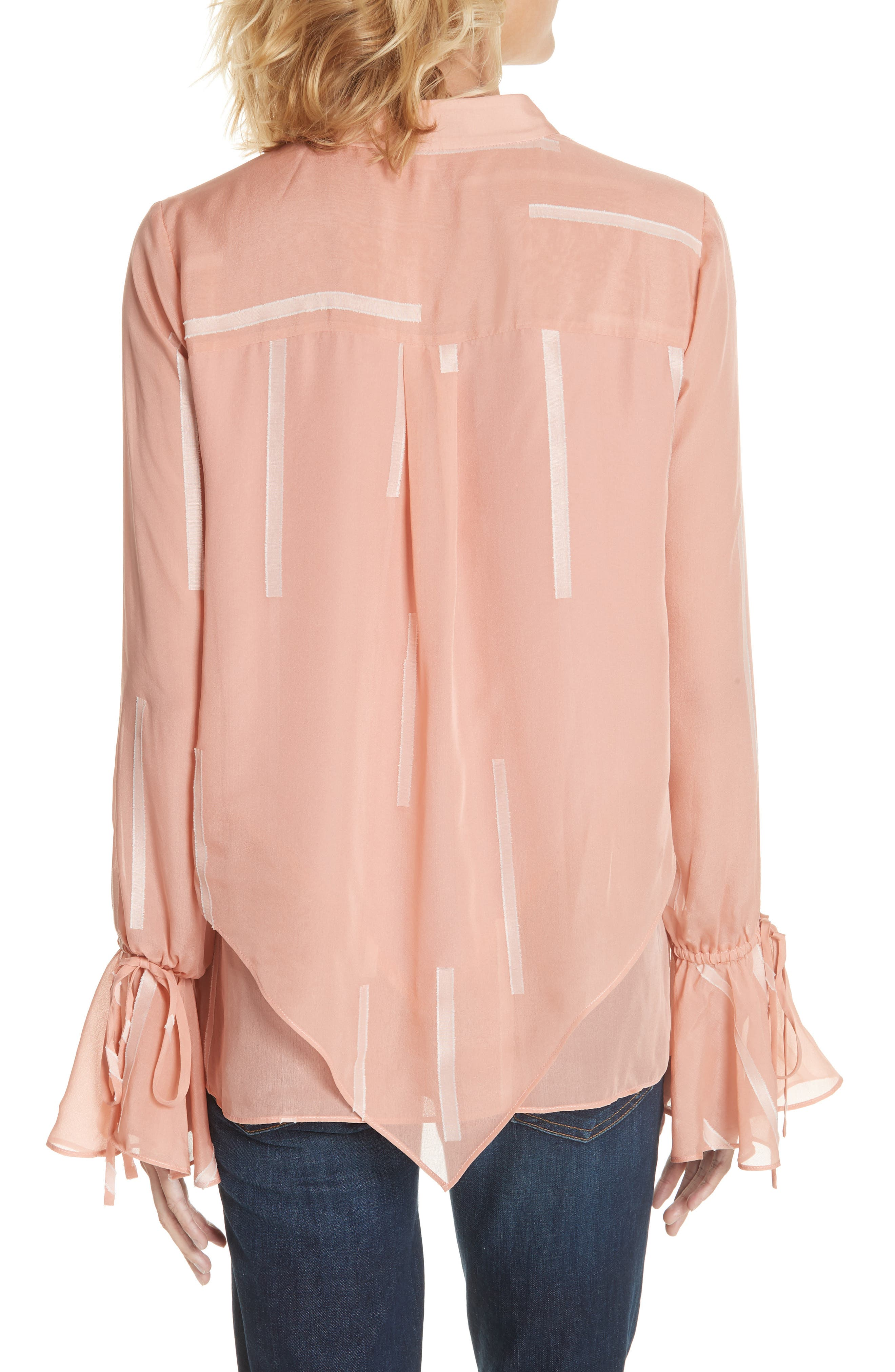 Clipped Stripe Handkerchief Silk Blend Blouse,                             Alternate thumbnail 2, color,                             DUSTY ROSE