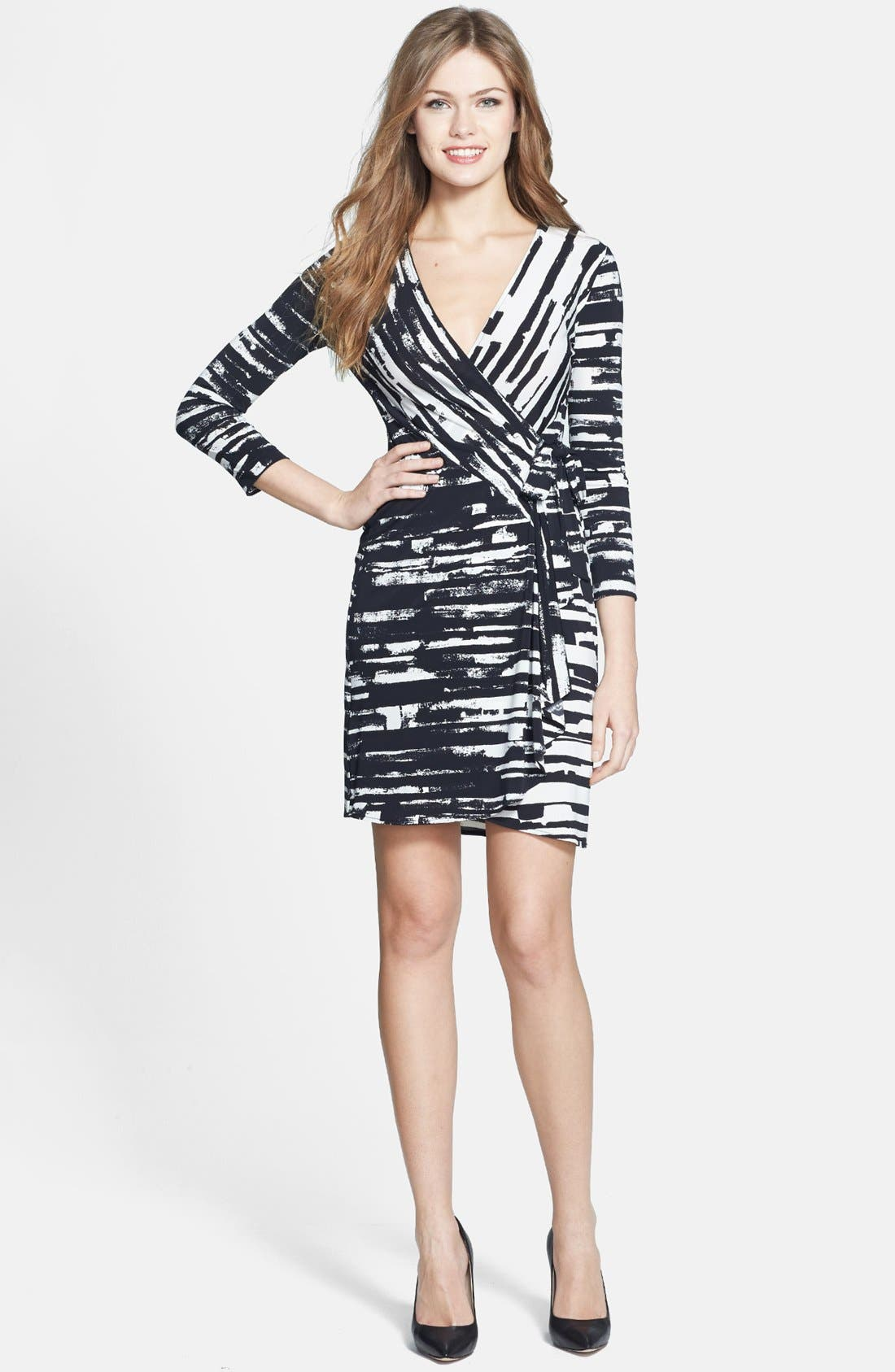 'Adele' Print Matte Jersey Wrap Dress,                             Alternate thumbnail 2, color,                             003