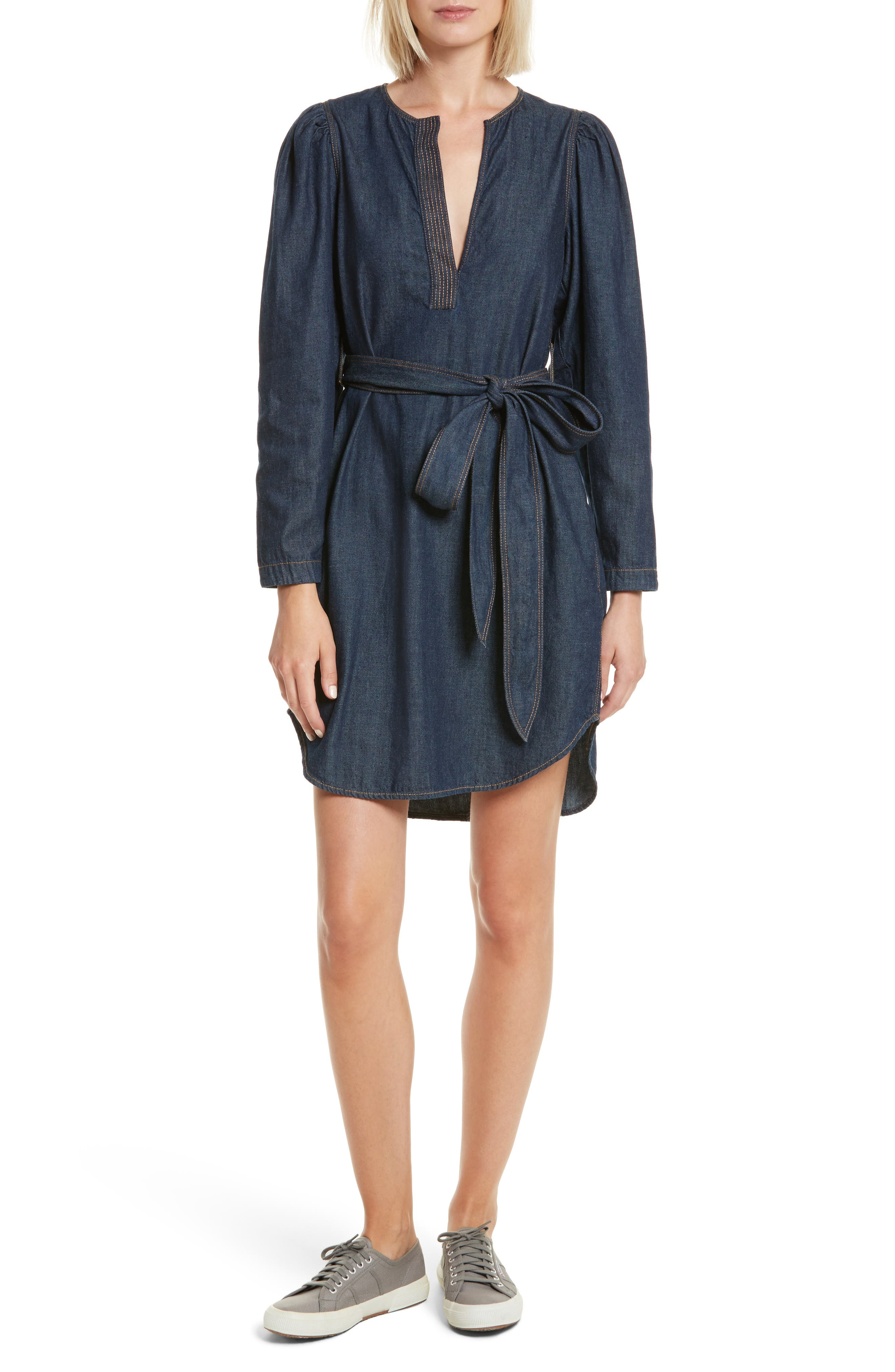 Belted Denim Dress,                             Main thumbnail 1, color,
