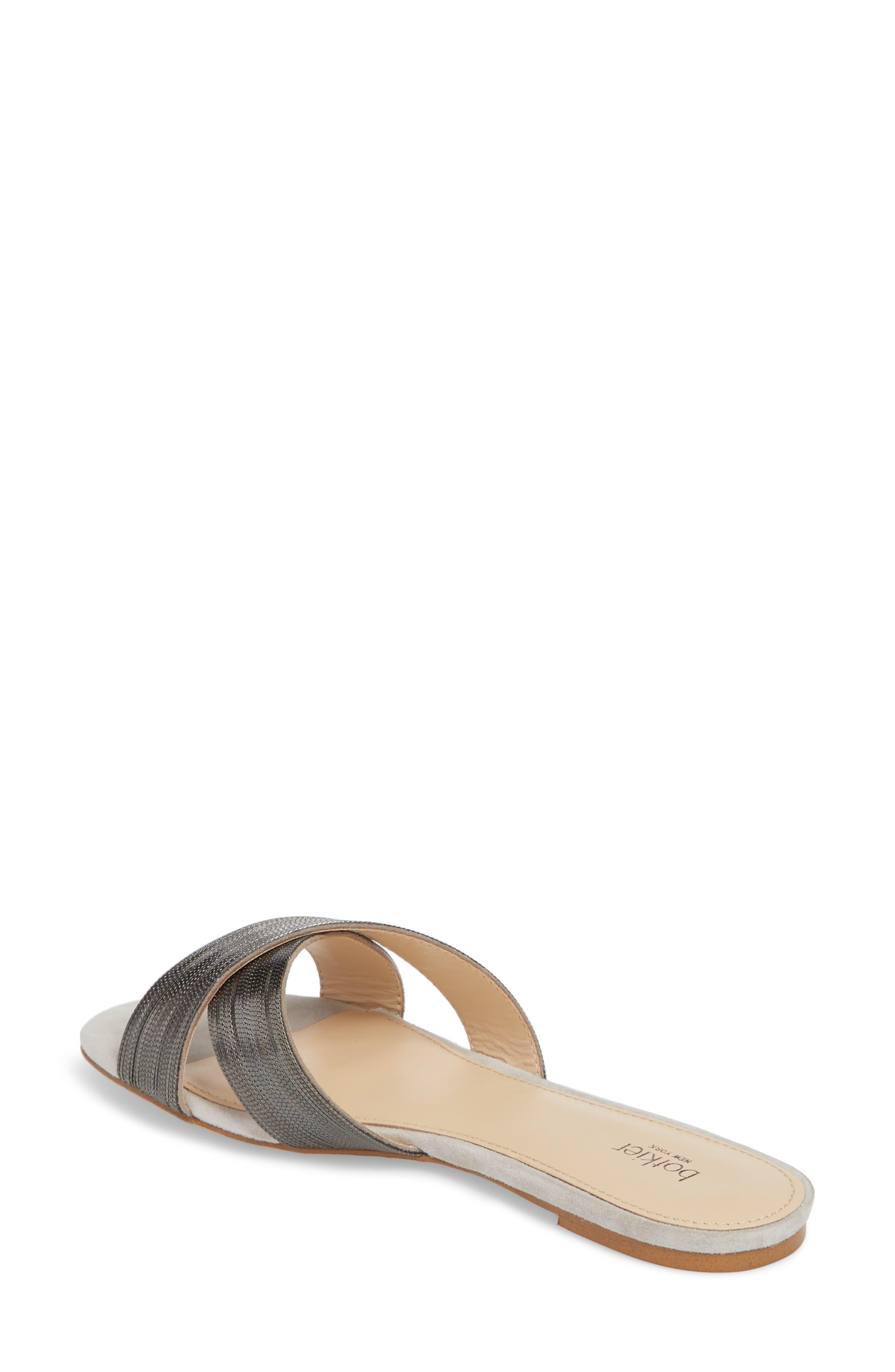 Millie Cross Strap Slide Sandal,                             Alternate thumbnail 2, color,                             CLAY/ GUNMETAL SUEDE