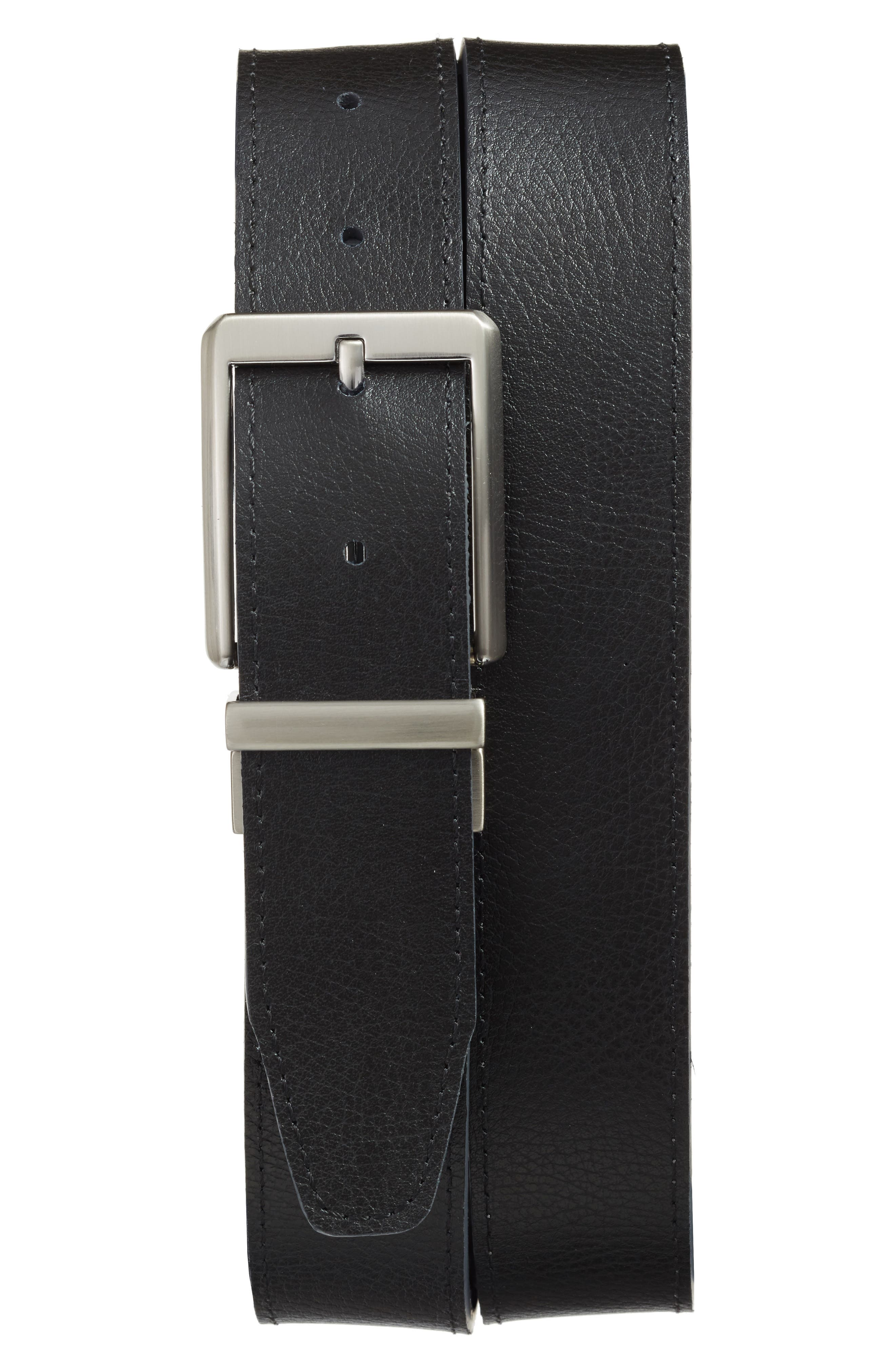 Core Reversible Leather Belt,                             Alternate thumbnail 2, color,                             DARK GREY