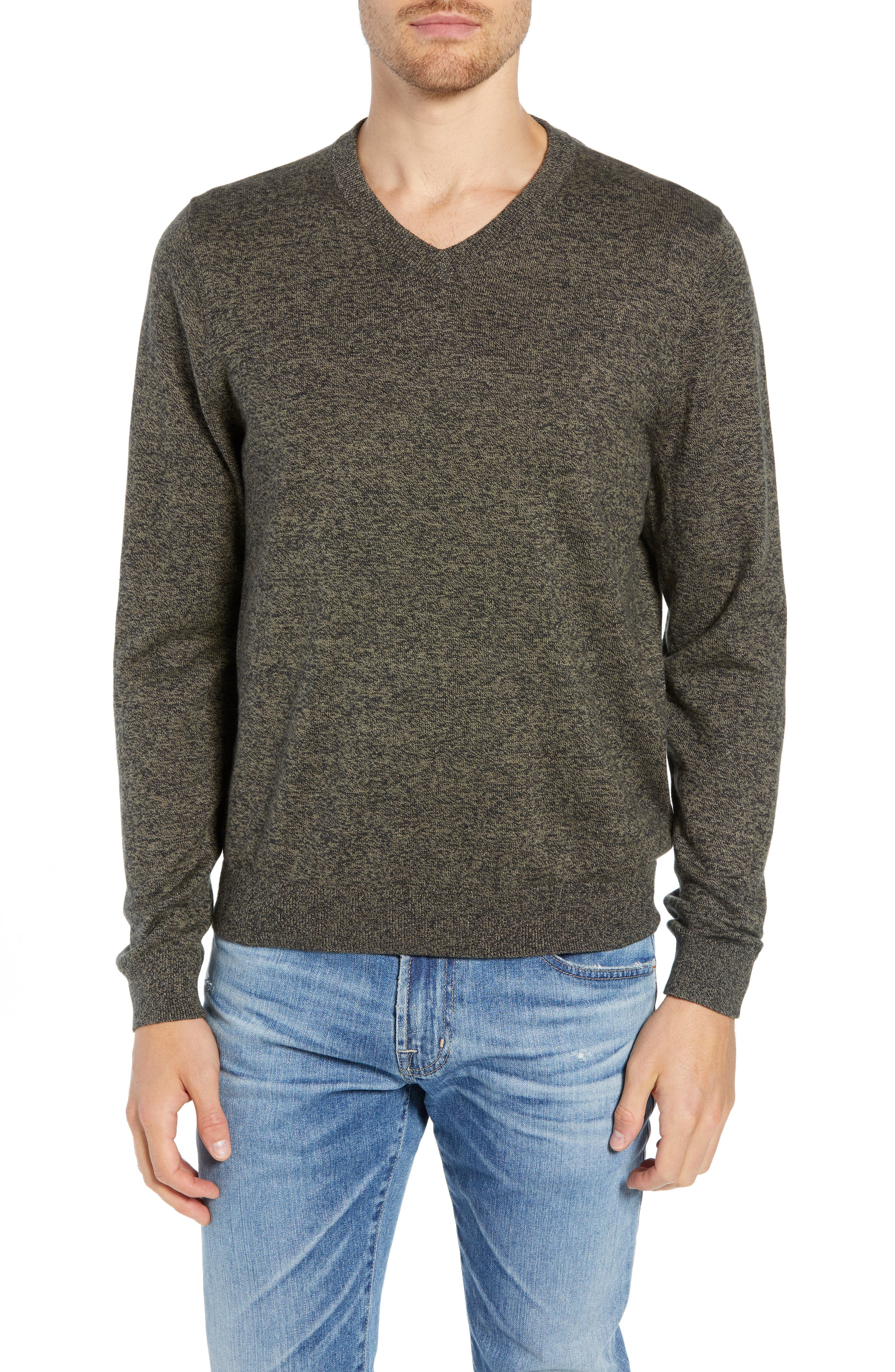 Cotton & Cashmere V-Neck Sweater,                             Main thumbnail 1, color,                             GREEN FOREST MARL