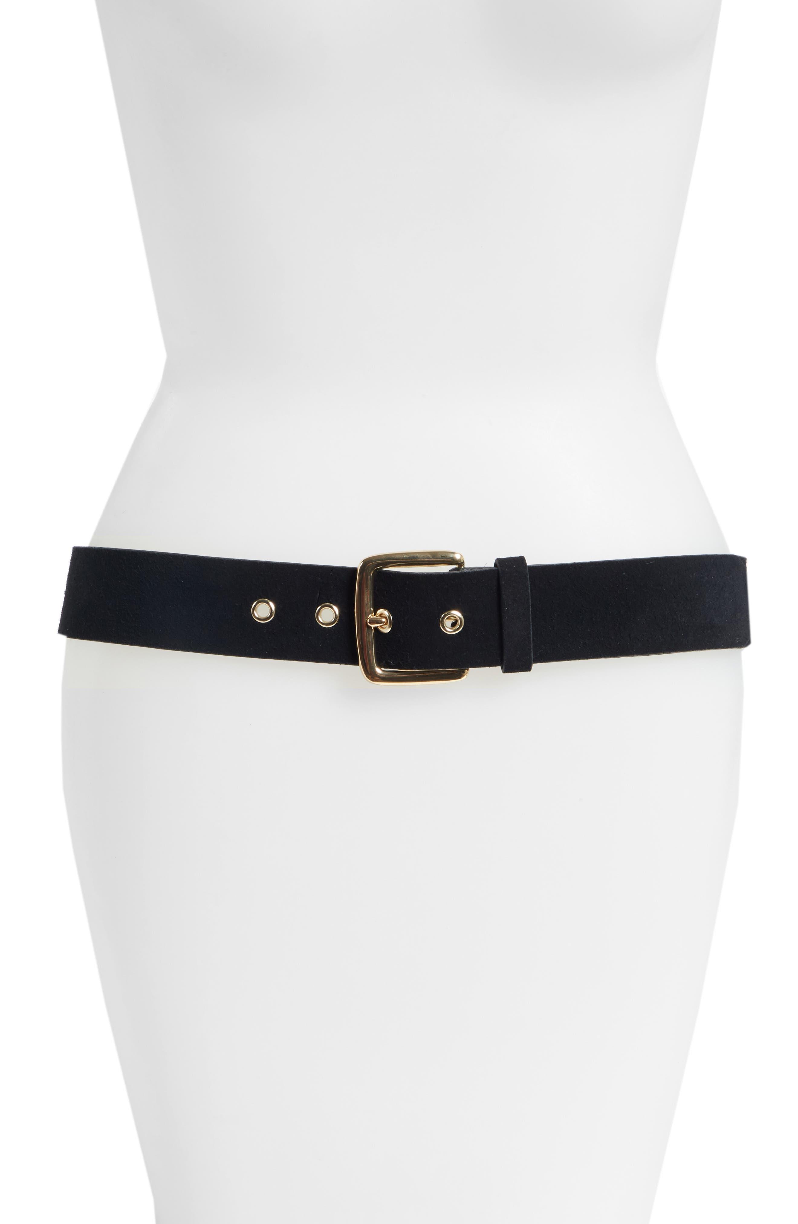 Grommet Leather Belt,                             Main thumbnail 1, color,                             NOIR