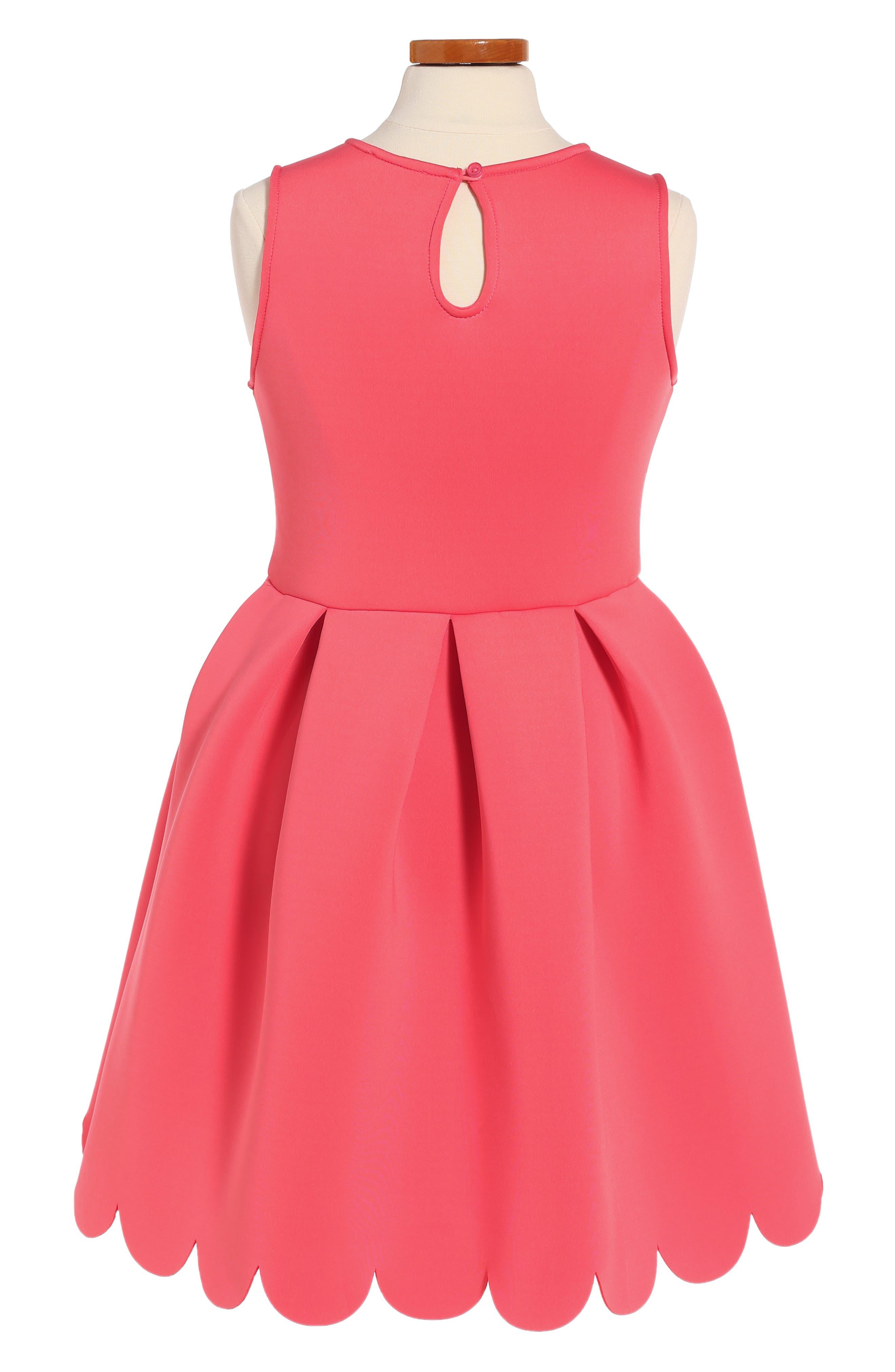 Scallop Hem Scuba Dress,                             Alternate thumbnail 2, color,