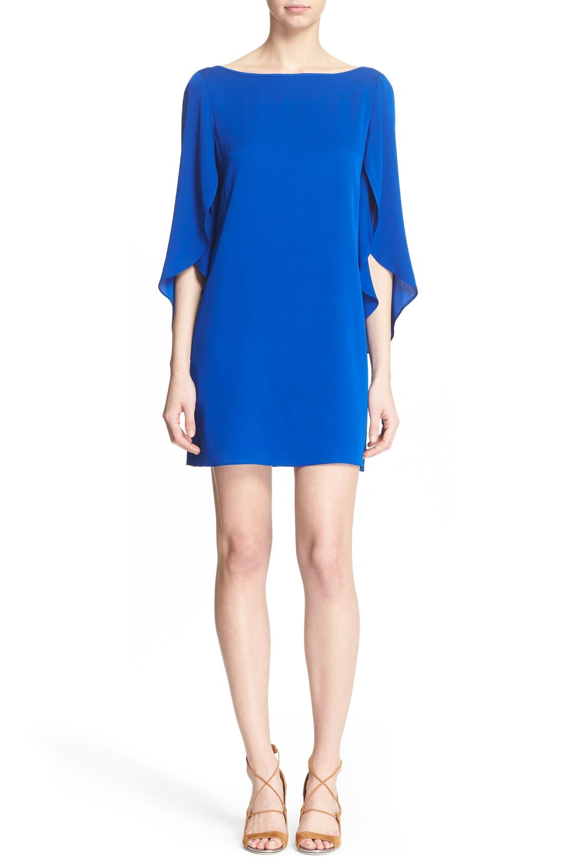 Butterfly Sleeve Stretch Silk Crepe Minidress,                             Main thumbnail 3, color,