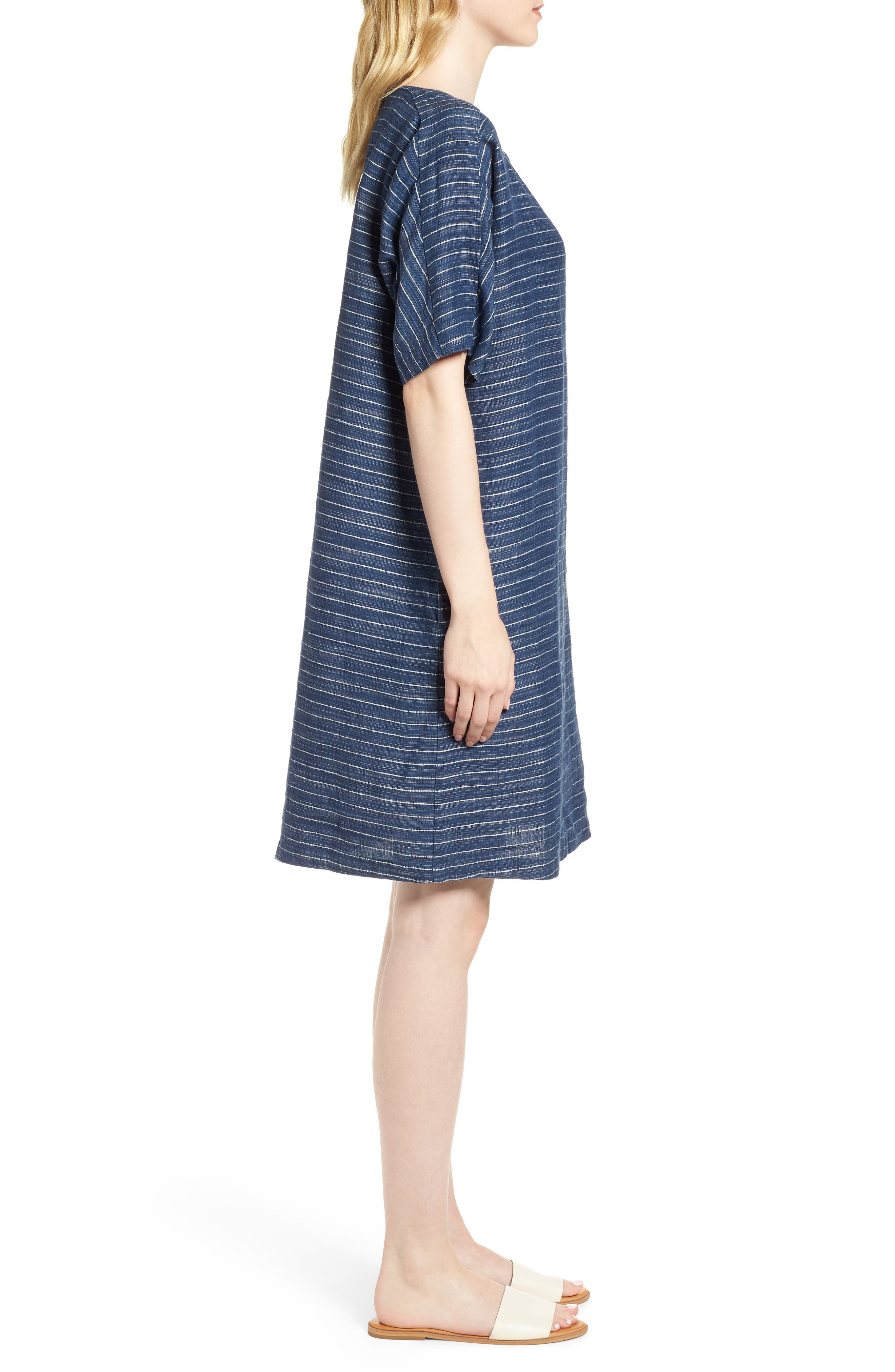 Stripe Linen Tunic Dress,                             Alternate thumbnail 3, color,                             480