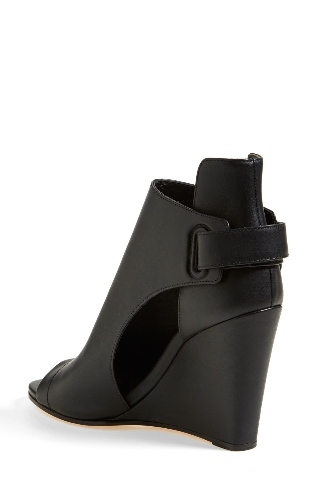 'Katia' Leather Wedge Bootie,                             Alternate thumbnail 5, color,                             001