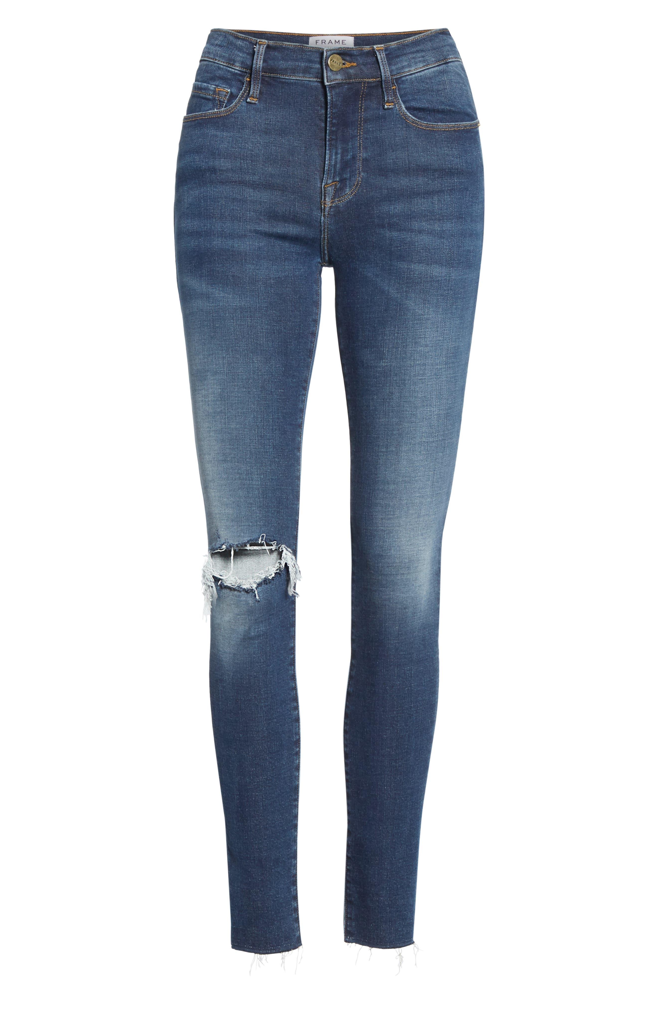 Le Skinny de Jeanne Ripped Raw Hem Ankle Jeans,                             Alternate thumbnail 6, color,                             JOLIE