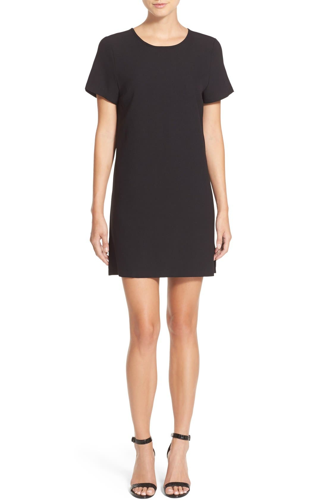 Devery Crepe Shift Dress,                             Alternate thumbnail 4, color,                             BLACK