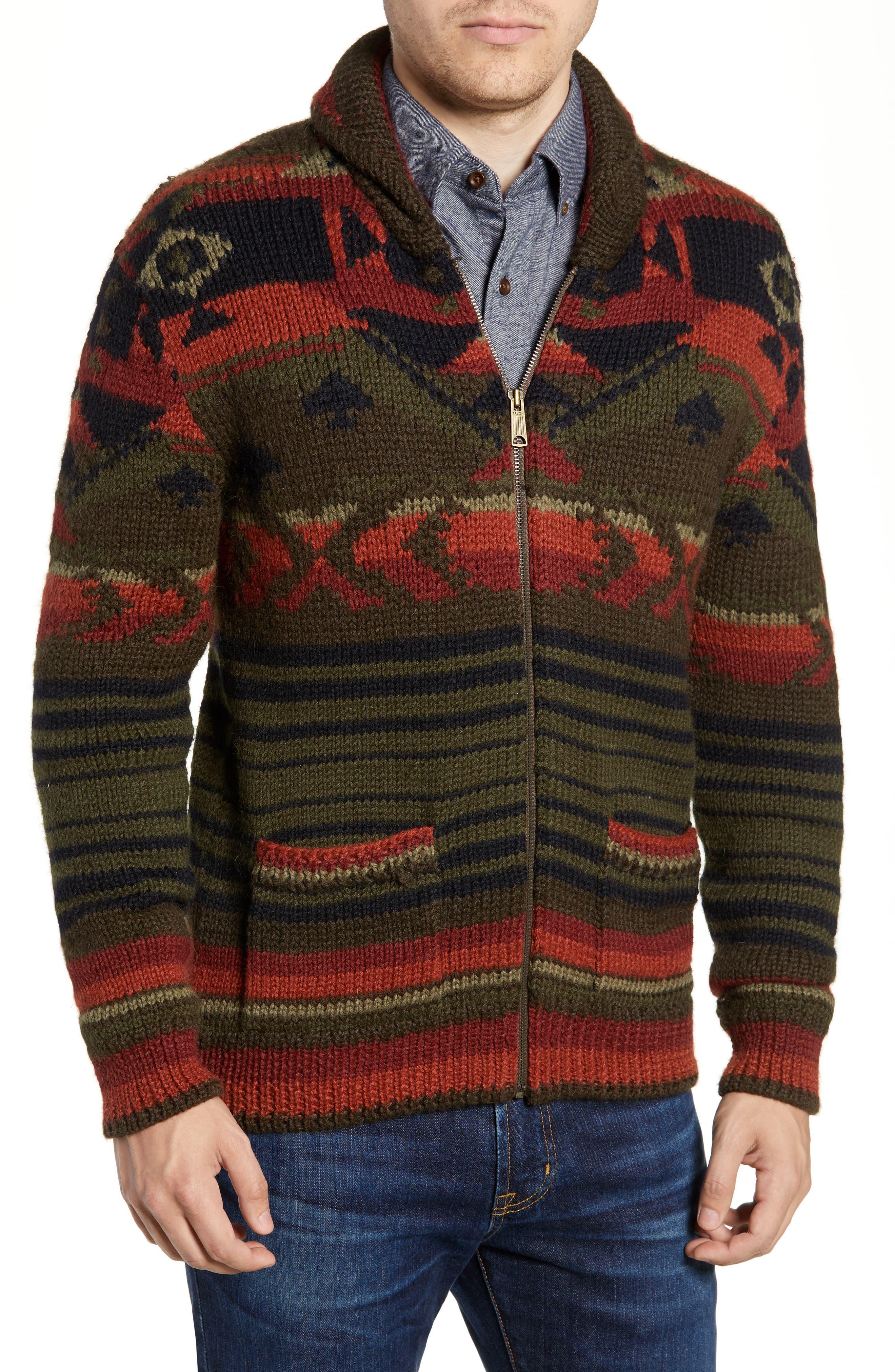 Faherty Winter Woods Wool Blend Cardigan, Green