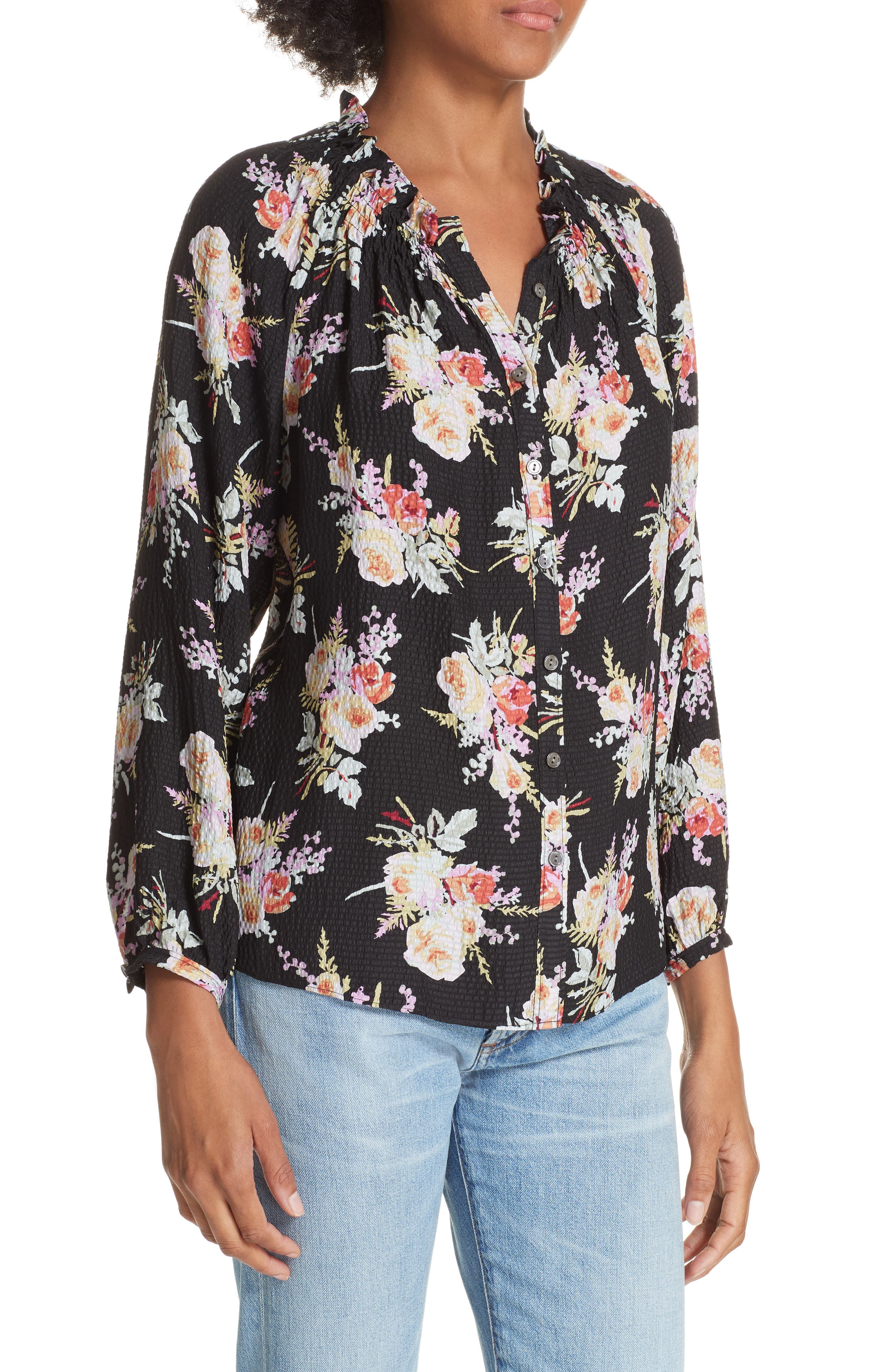 Floral Silk Blouse,                             Alternate thumbnail 4, color,                             014