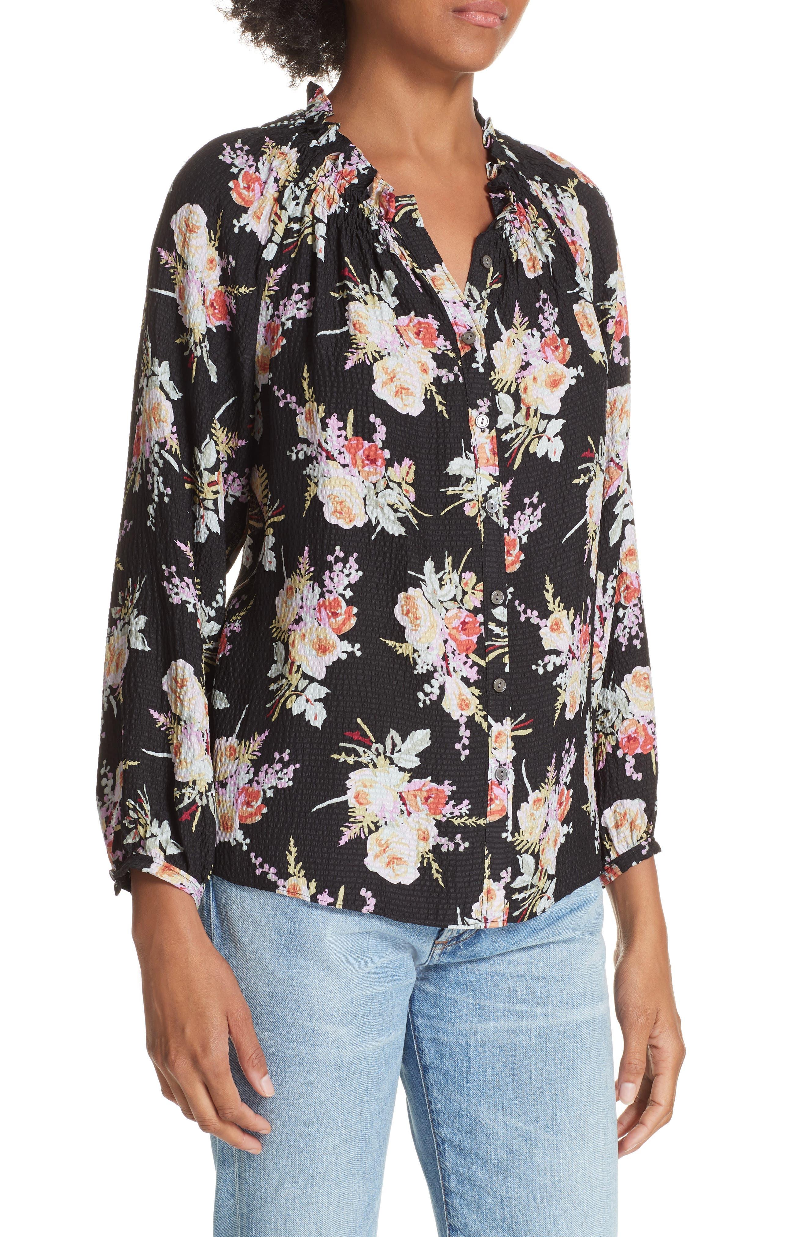 Floral Silk Blouse,                             Alternate thumbnail 4, color,                             BLACK COMBO