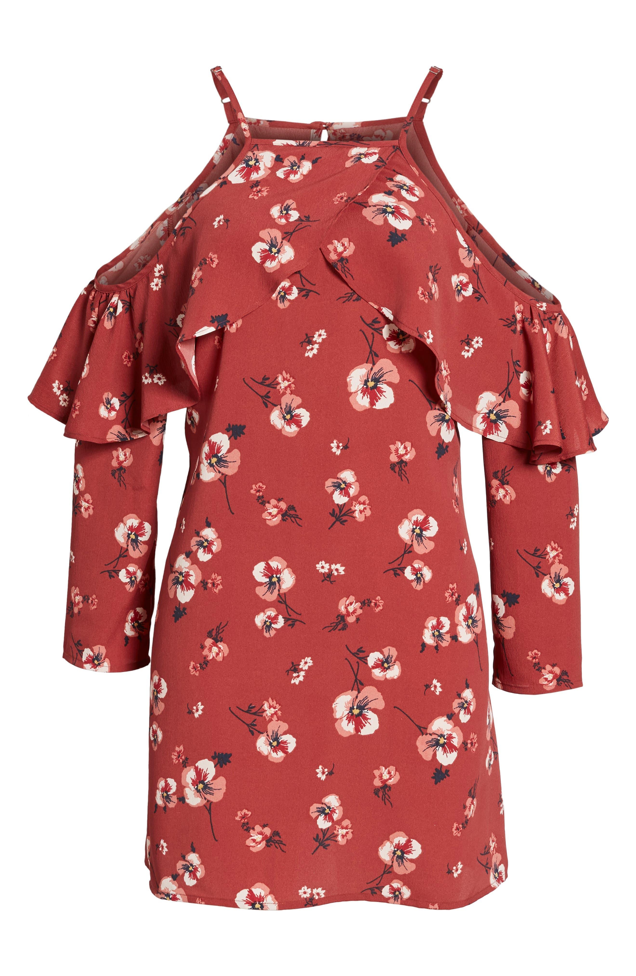 Poppy Print Ruffle Cold Shoulder Dress,                             Alternate thumbnail 6, color,                             600