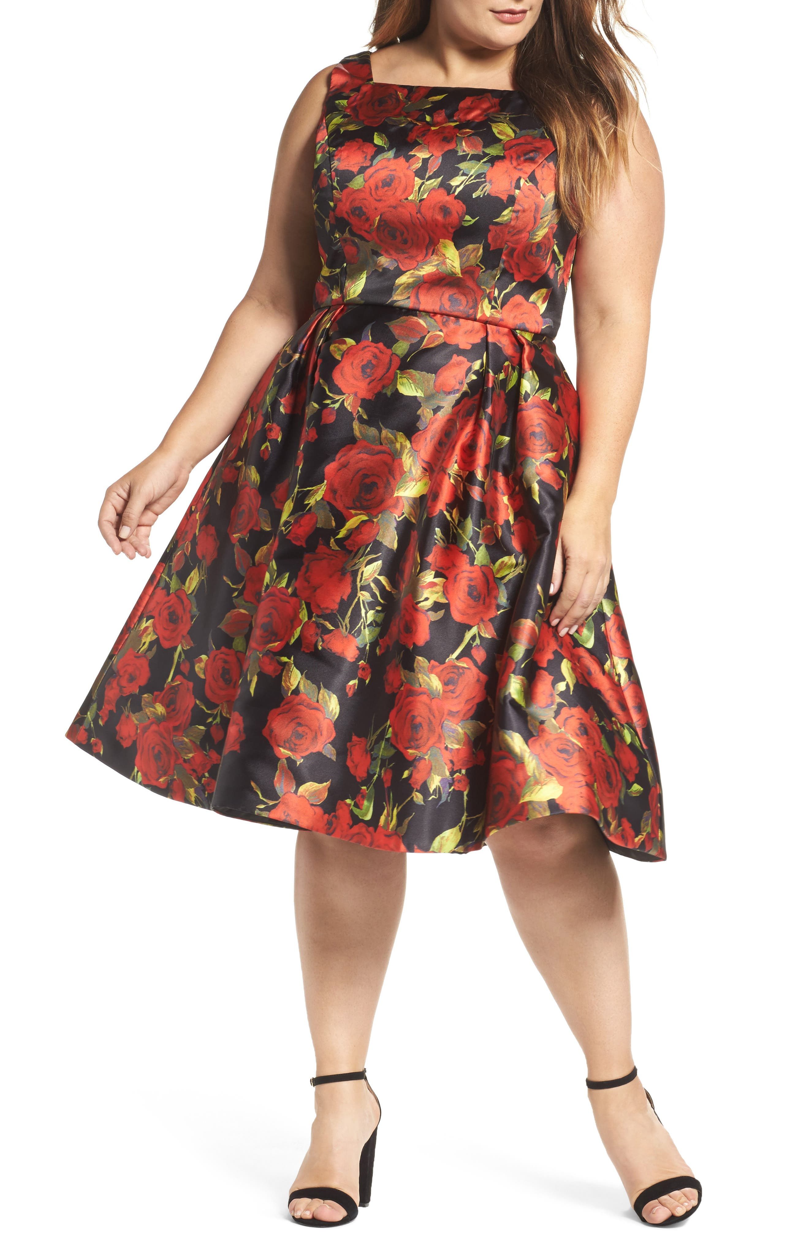 Floral Fit & Flare Dress,                             Main thumbnail 1, color,                             001